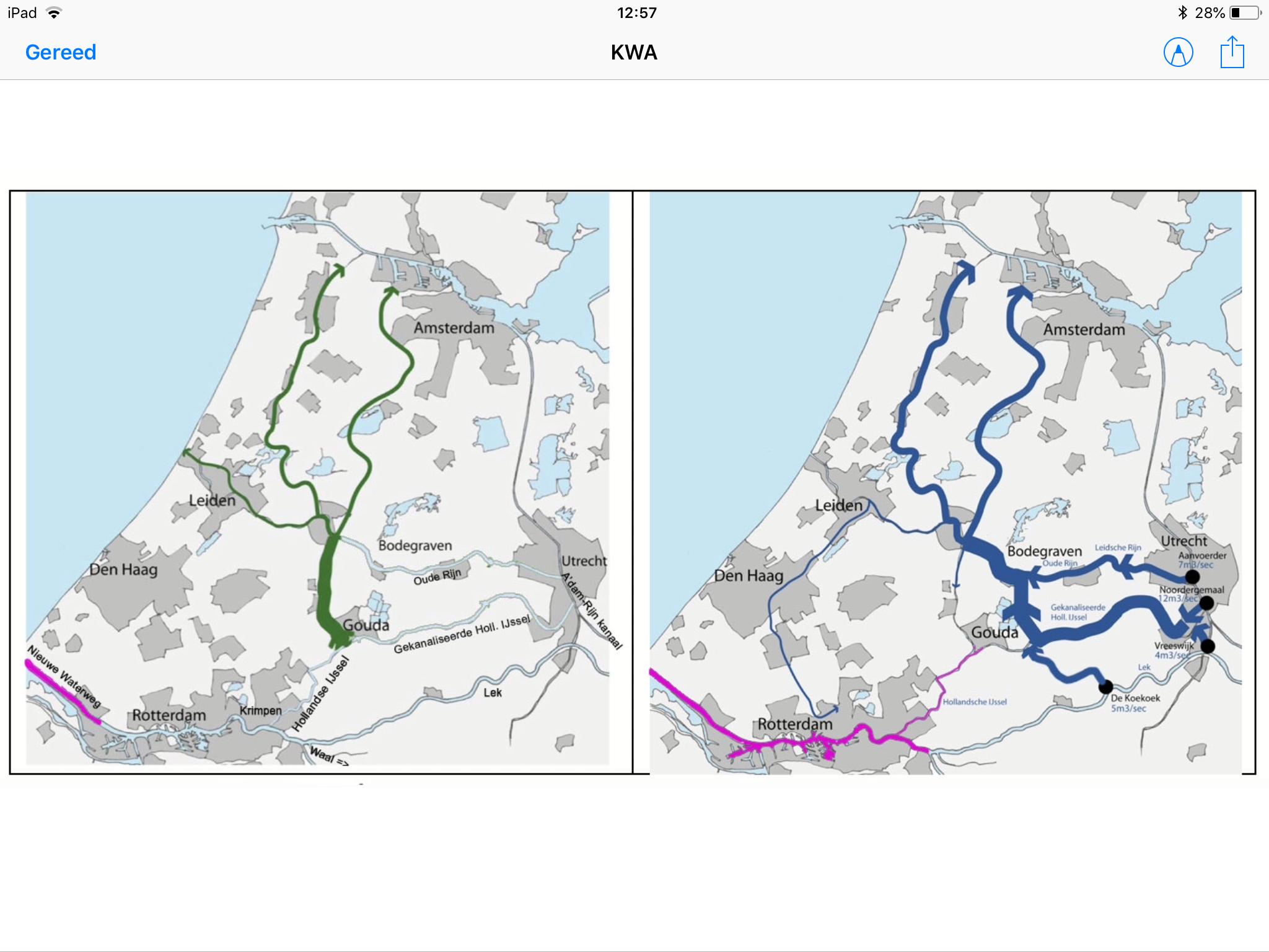 Aanvoerroute zoetwater onder normale omstandigheden (links) en KWA (rechts)