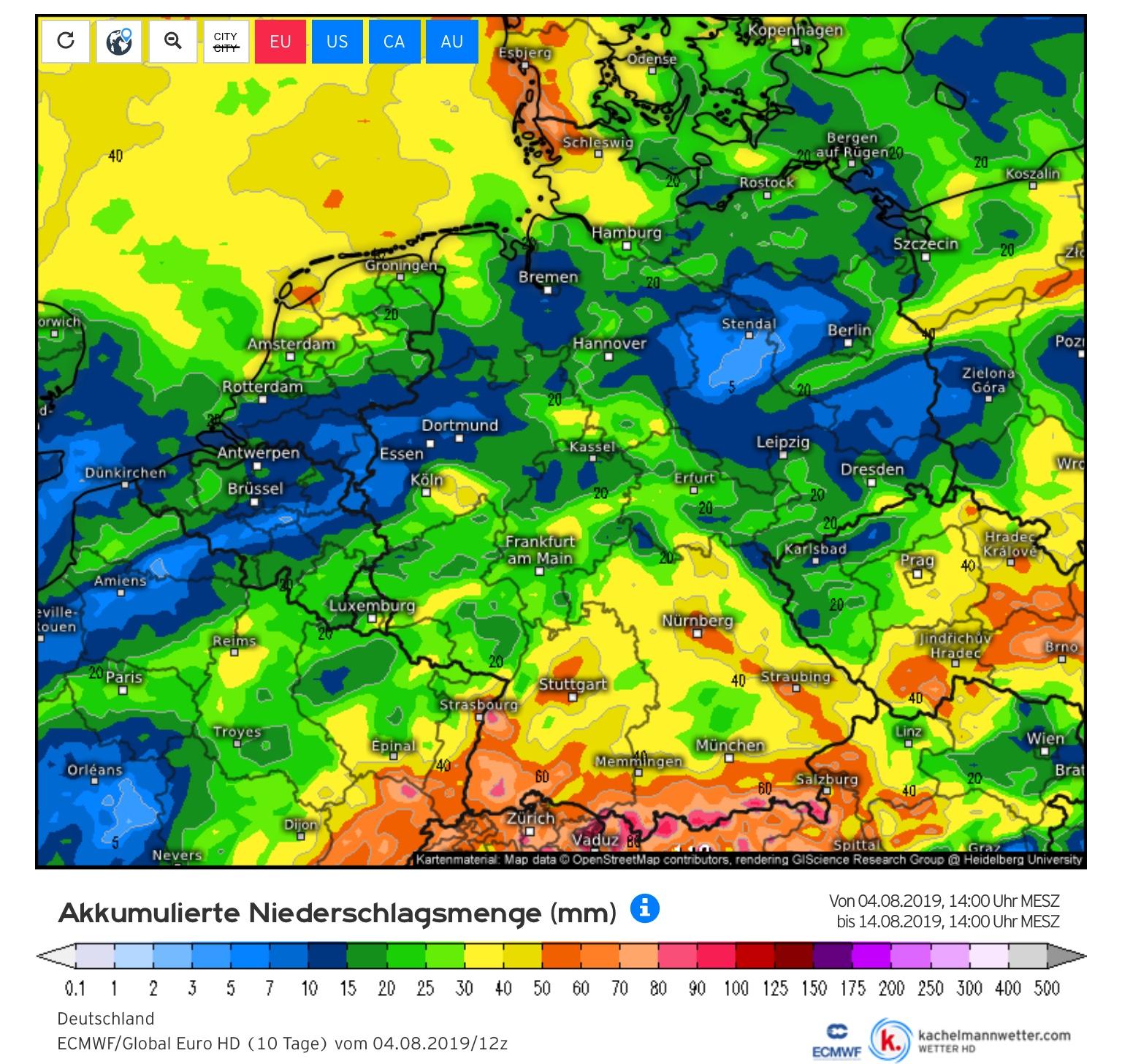 Neerslagverdeling komende 10 dagen in de stroomgebieden van Rijn en Maas (bron Kachelmannwetter.com)