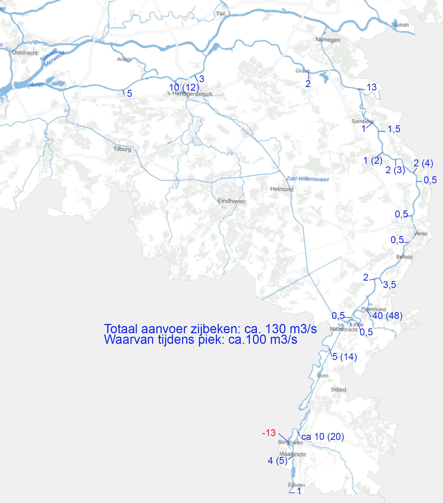Toestroom naar de Maas vanuit de zijbeken ten tijde van de piek (tussen haakjes de maximale afvoer  die werd gehaald)