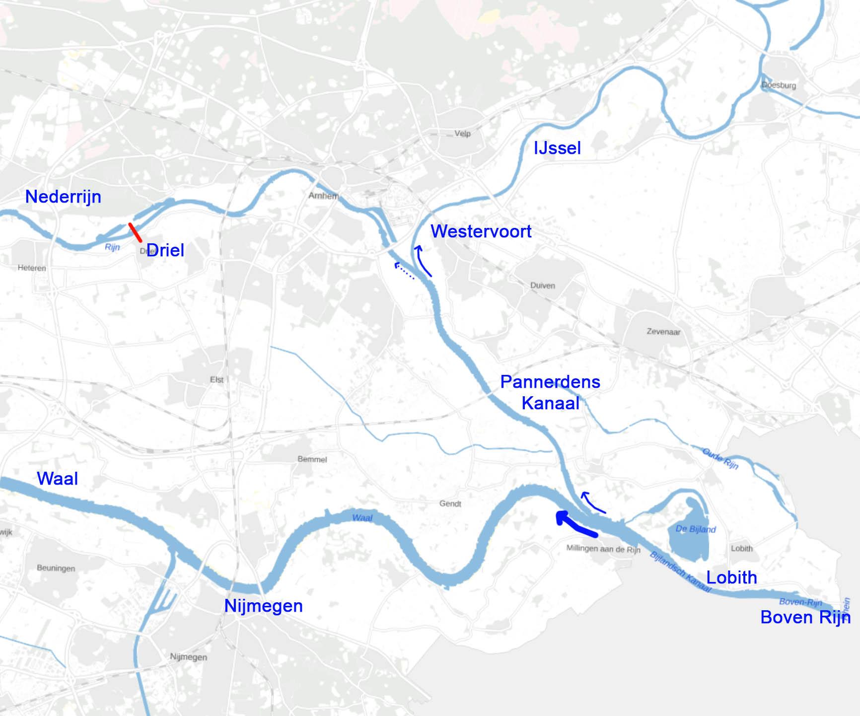 Waterverdeling bij de splitsingspunten van Waal, Nederrijn en IJssel