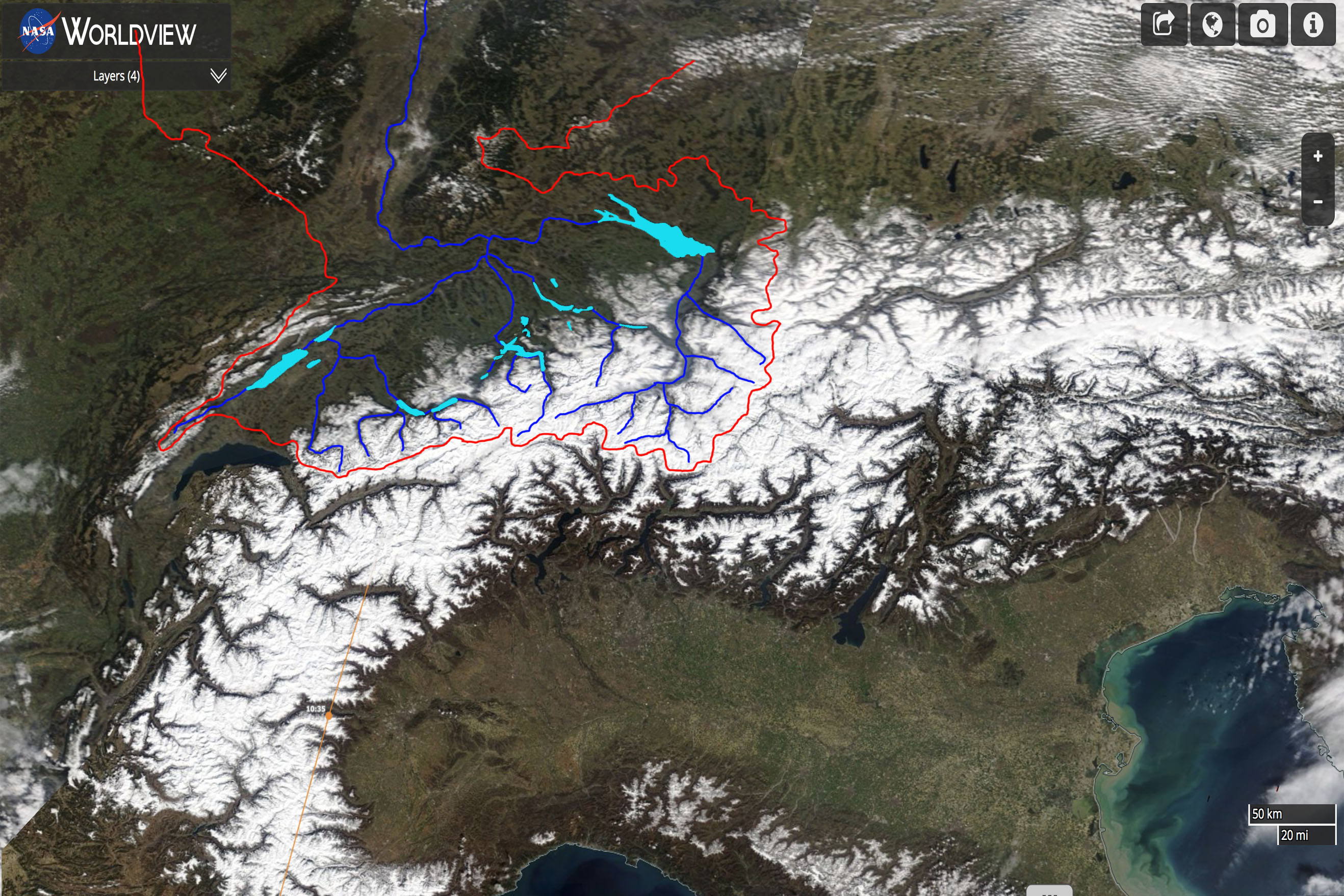 Sneeuwbedekking Alpen eind maart 2018