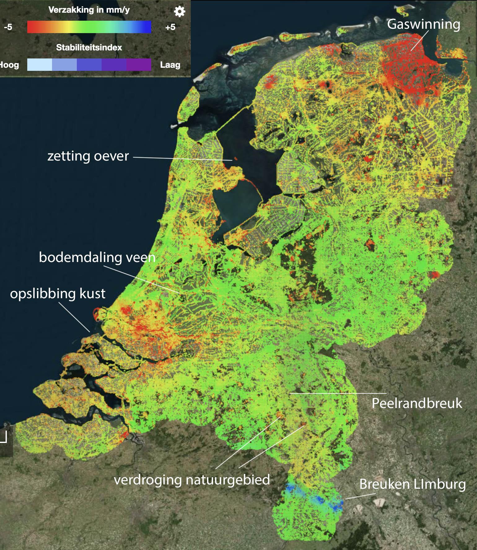 Bodemdalingskaart van Nederland. De gemarkeerde locaties worden verderop in de tekst genoemd. (bron: https://bodemdalingskaart.portal.skygeo.com/portal/bodemdalingskaart/u1/viewers/basic/)