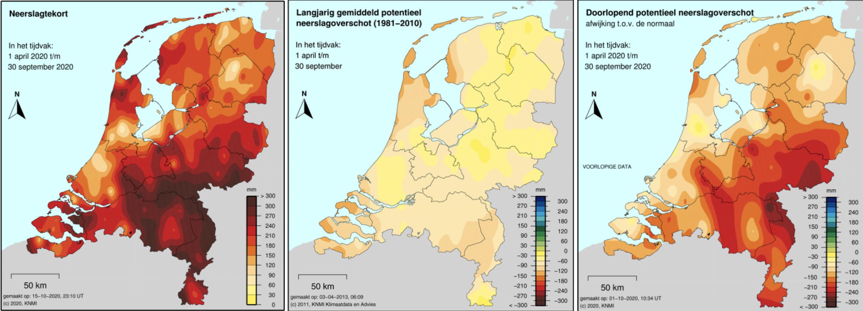 De droogte van het afgelopen zomerhalfjaar in beeld met links de kaart van het neerslagtekort, in het midden de normale situatie en rechts de afwijking tov de normale situatie.
