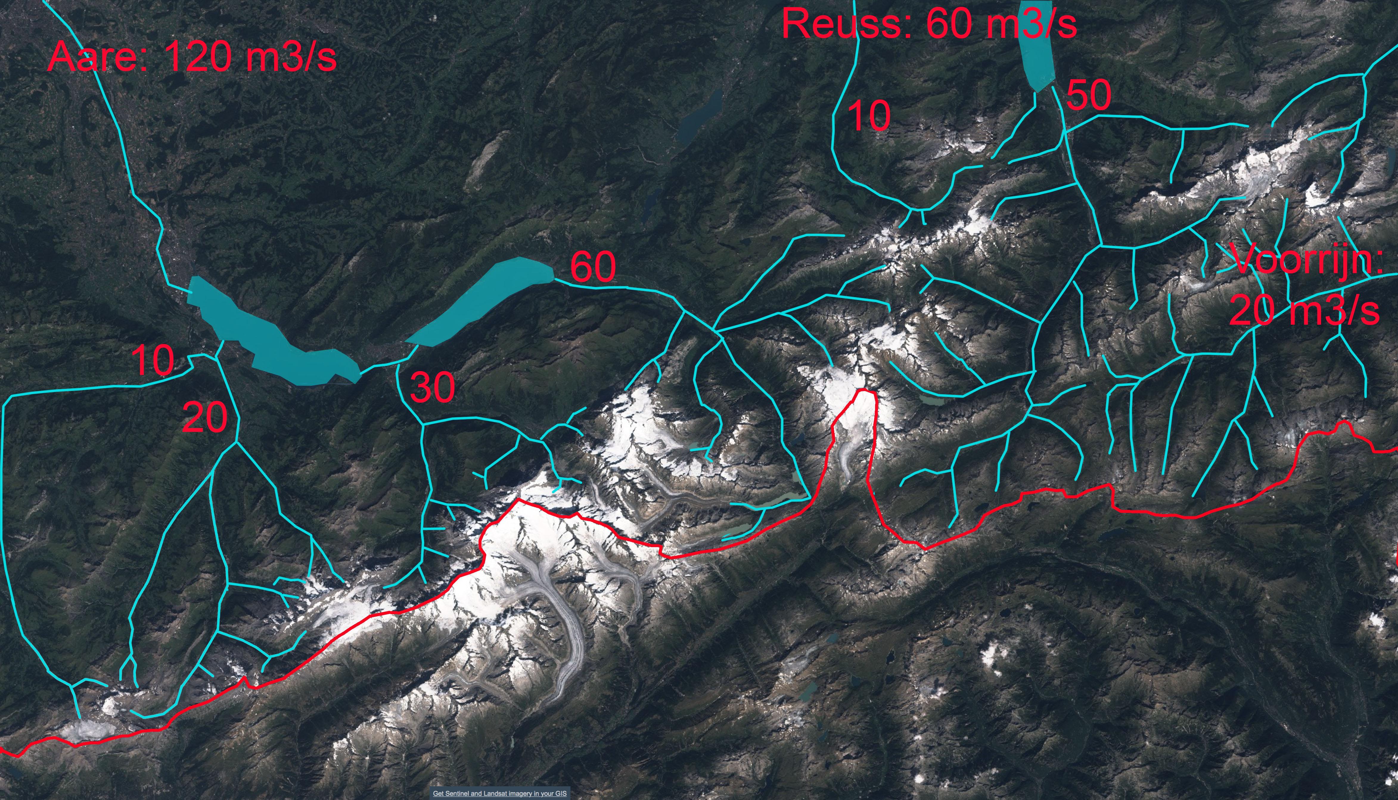 Detail van de belangrijkste gletsjers van de Rijn