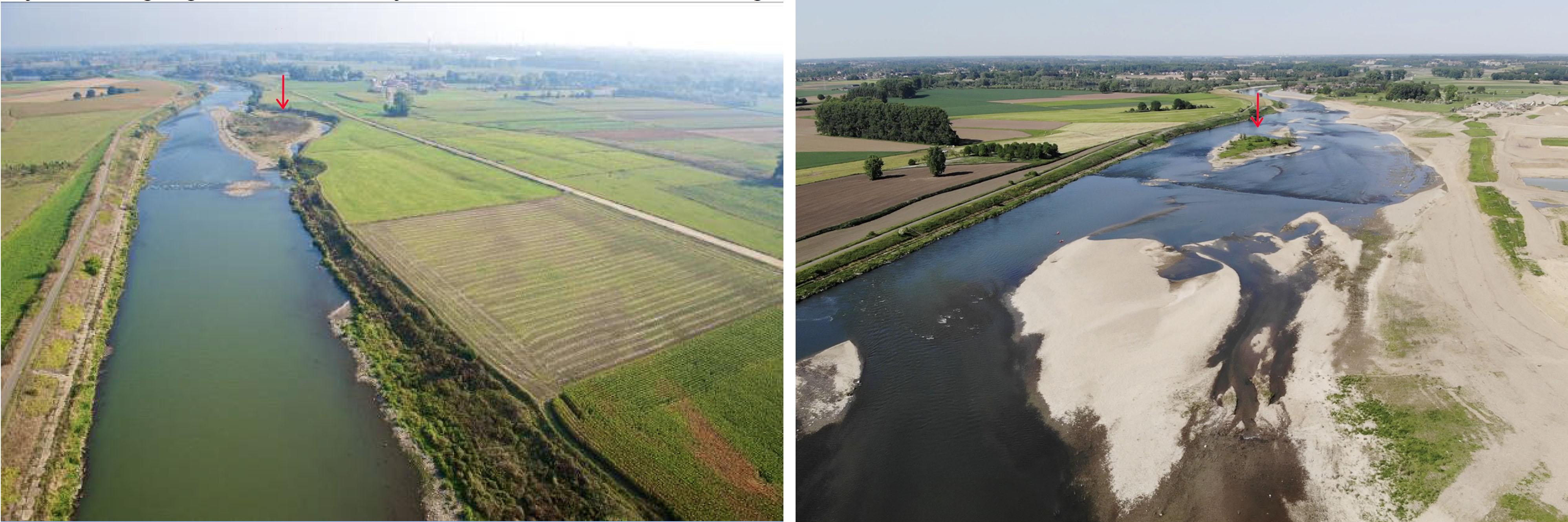 Foto van voor (links) en na (rechts) de uitvoering van het Grensmaasproject in het traject tussen Meers en Maasband. (Foto rechts is gemaakt door Avisum.be).