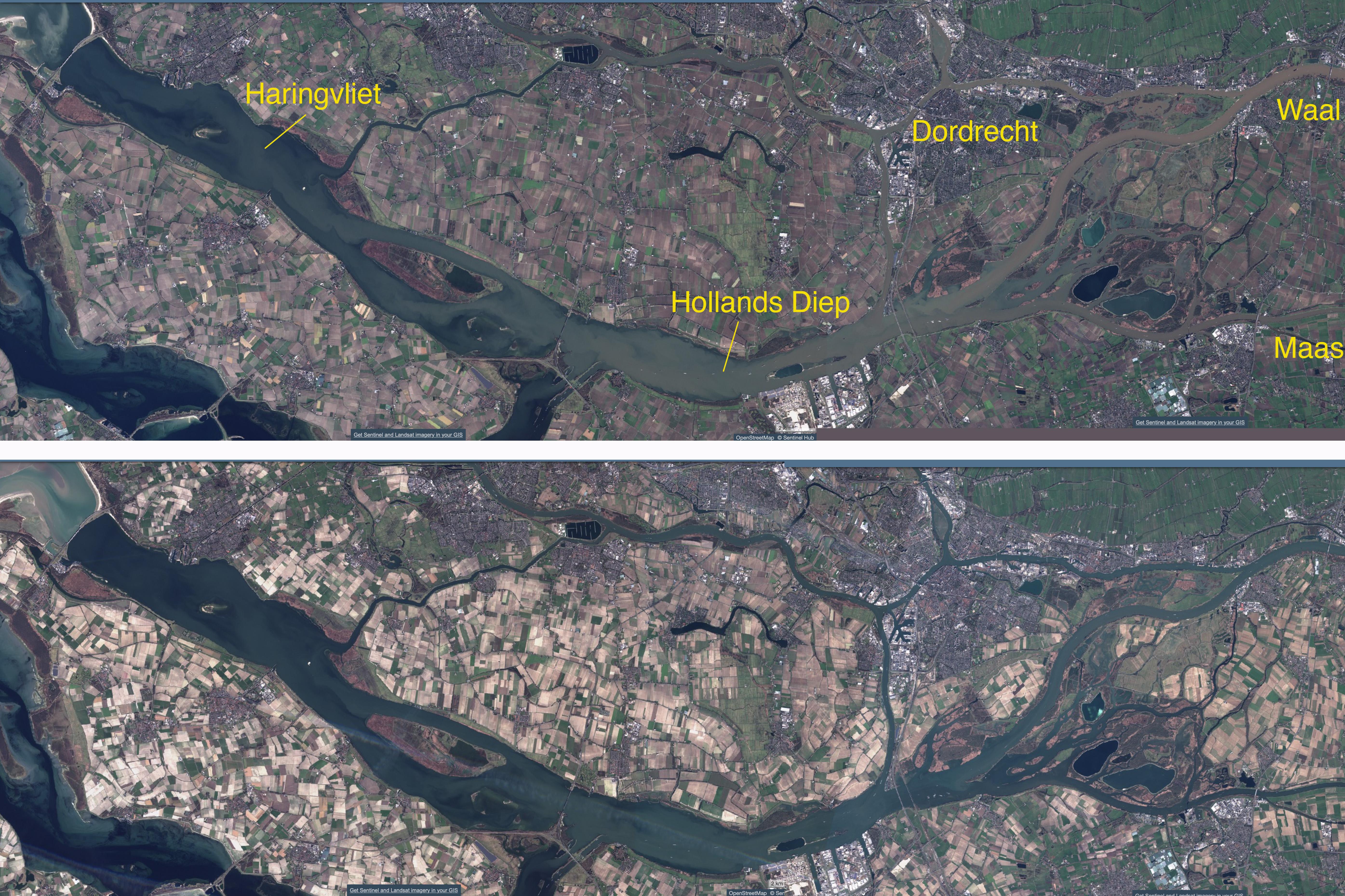 Vergelijking 15 februari (boven) en 27 februari (onder) van het Benedenrivierengebied (bron: https://apps.sentinel-hub.com/sentinel-playground)