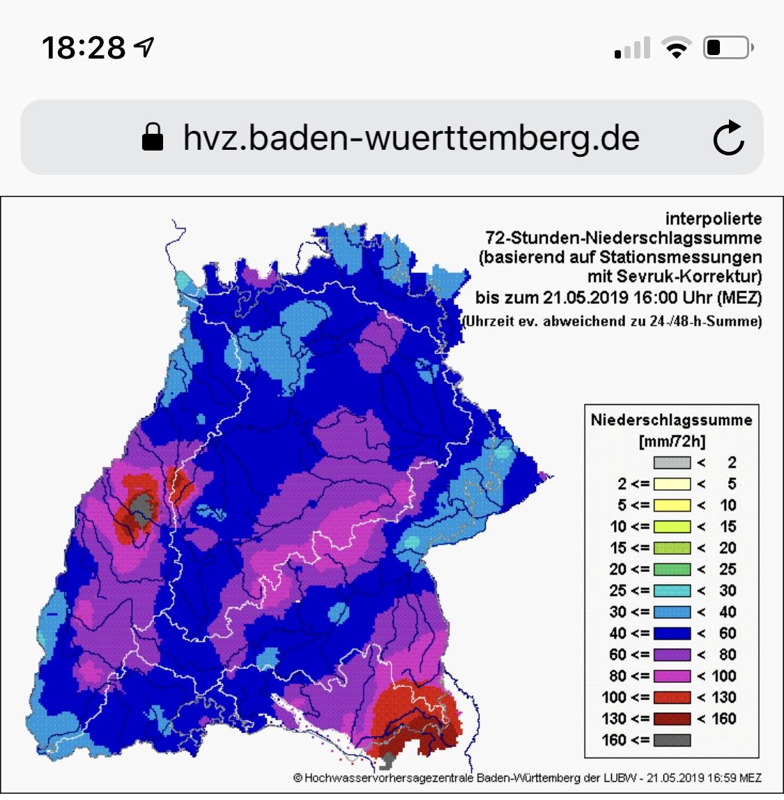 Neerslaggegevens Baden Wurtenberg van 19 t/m 21 mei
