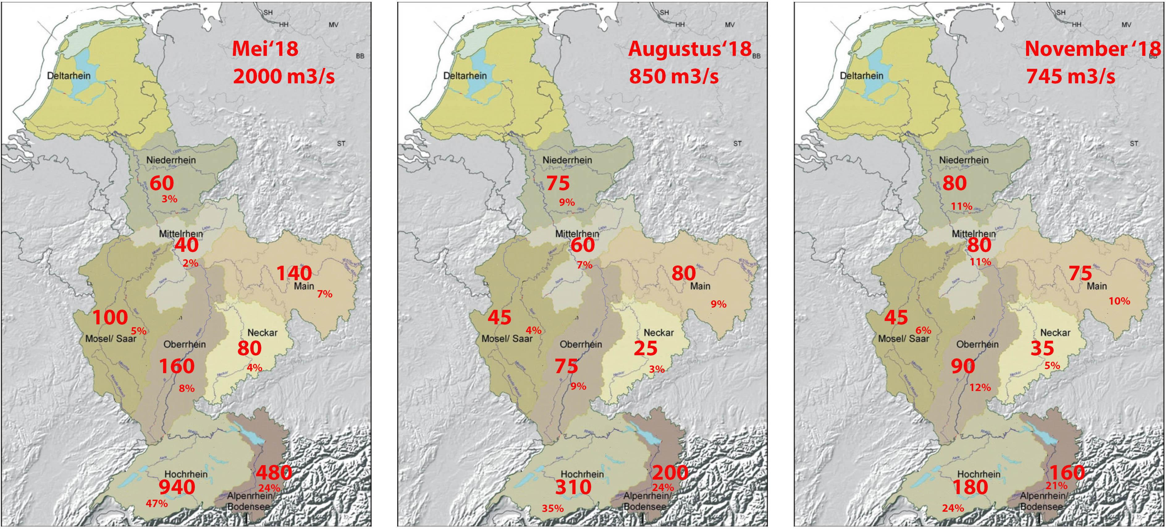 Herkomst Rijnwater in mei, augustus en november 2018