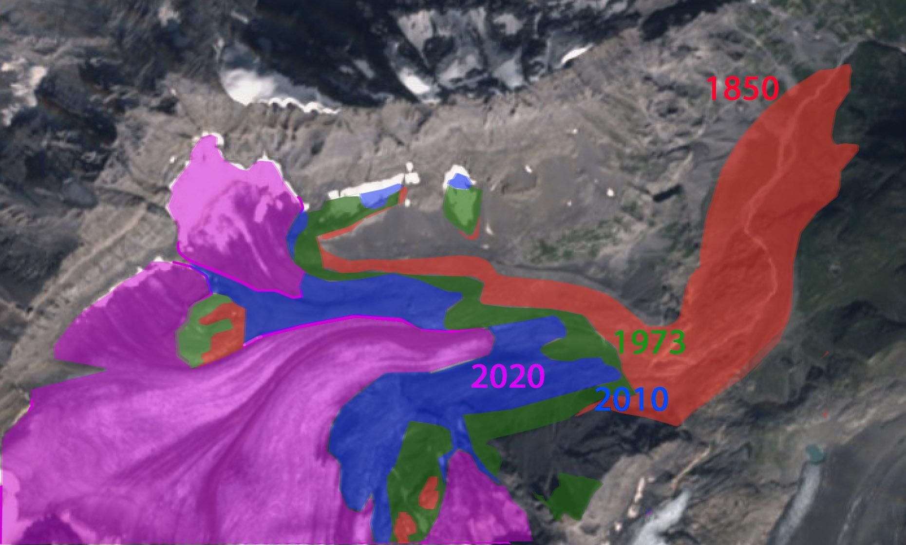 Het terugtrekken van de Kandergletsjer in 3 stappen: van 1850 tot 1973 (rood), van 1973 tot 2010 (groen) en van 2010 tot 2020 (blauw). Het roze vlak is het deel dat nu nog resteert.
