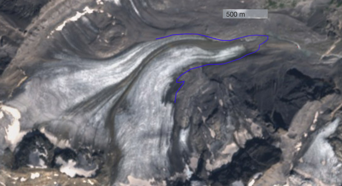 De Kandergletsjer in het Berneroberland op 27 augustus j.l. De blauwe lijn geeft de omvang in 2015 aan. (bron Sentinel)