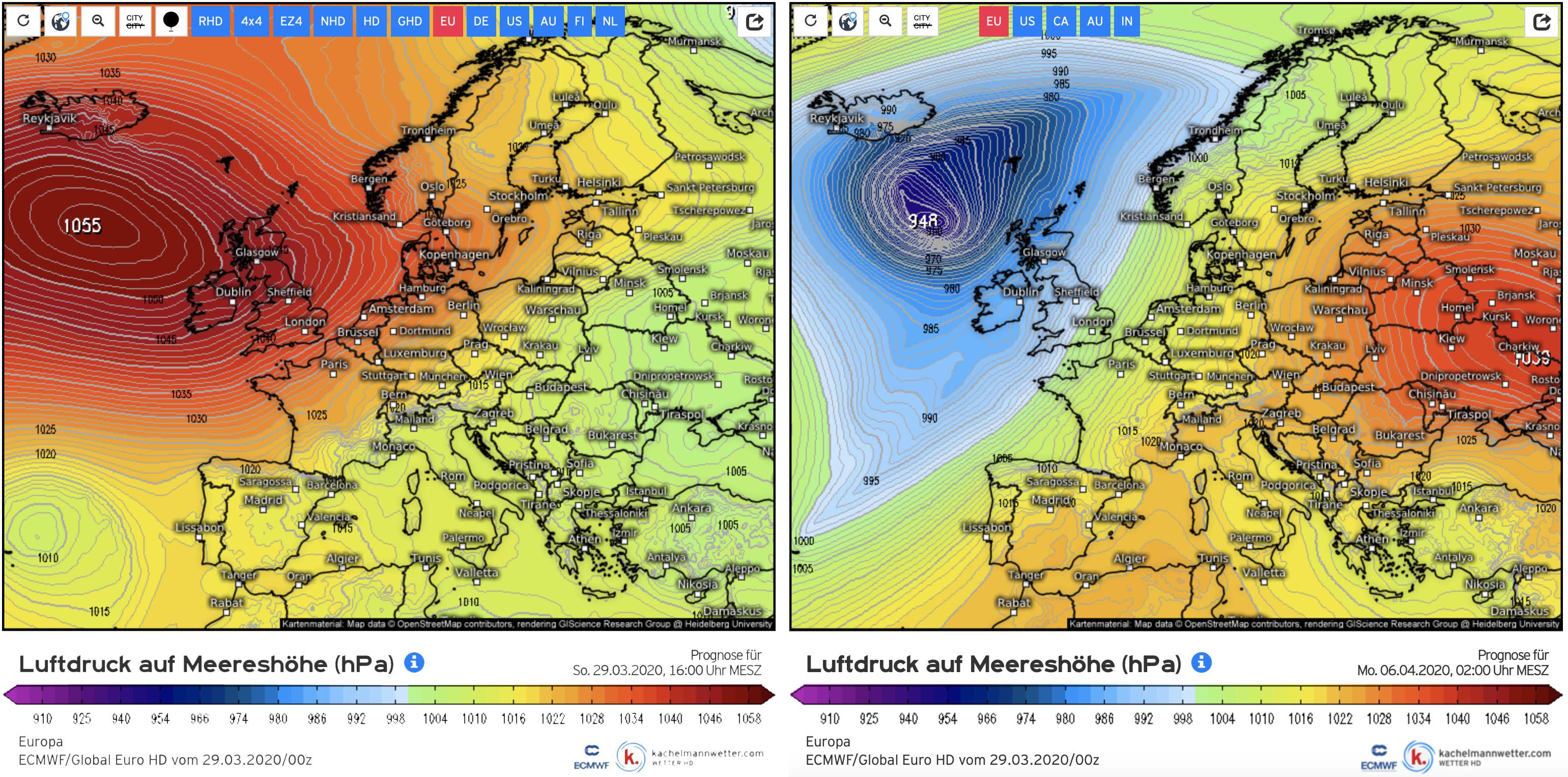 De komende week maakt het zeer sterke hogedruk op de Atlantische Oceaan plaats voor een zeer diep lage drukgebied (bron: www.kachelmannwetter.com).