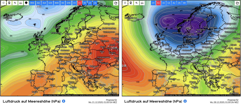 Weerkaart van dit moment (links) en voor over een week (rechts) (bron: www.Kachelmannwetter.de)