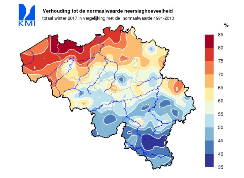 Neerslag winter in Belgisch deel stroomgebied Maas