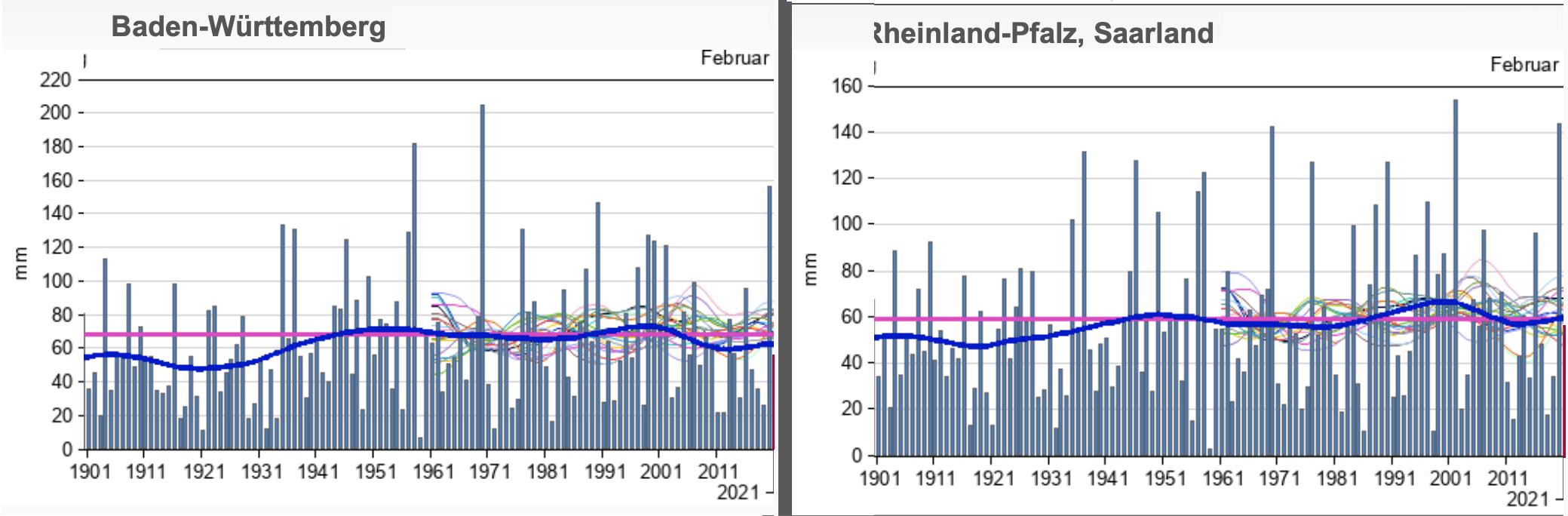 Neerslaggegevens van twee deelstaten in Duitsland binnen het stroomgebied van de Rijn sinds 1901 (de bleuwe lijn is het langjarig gemiddelde).