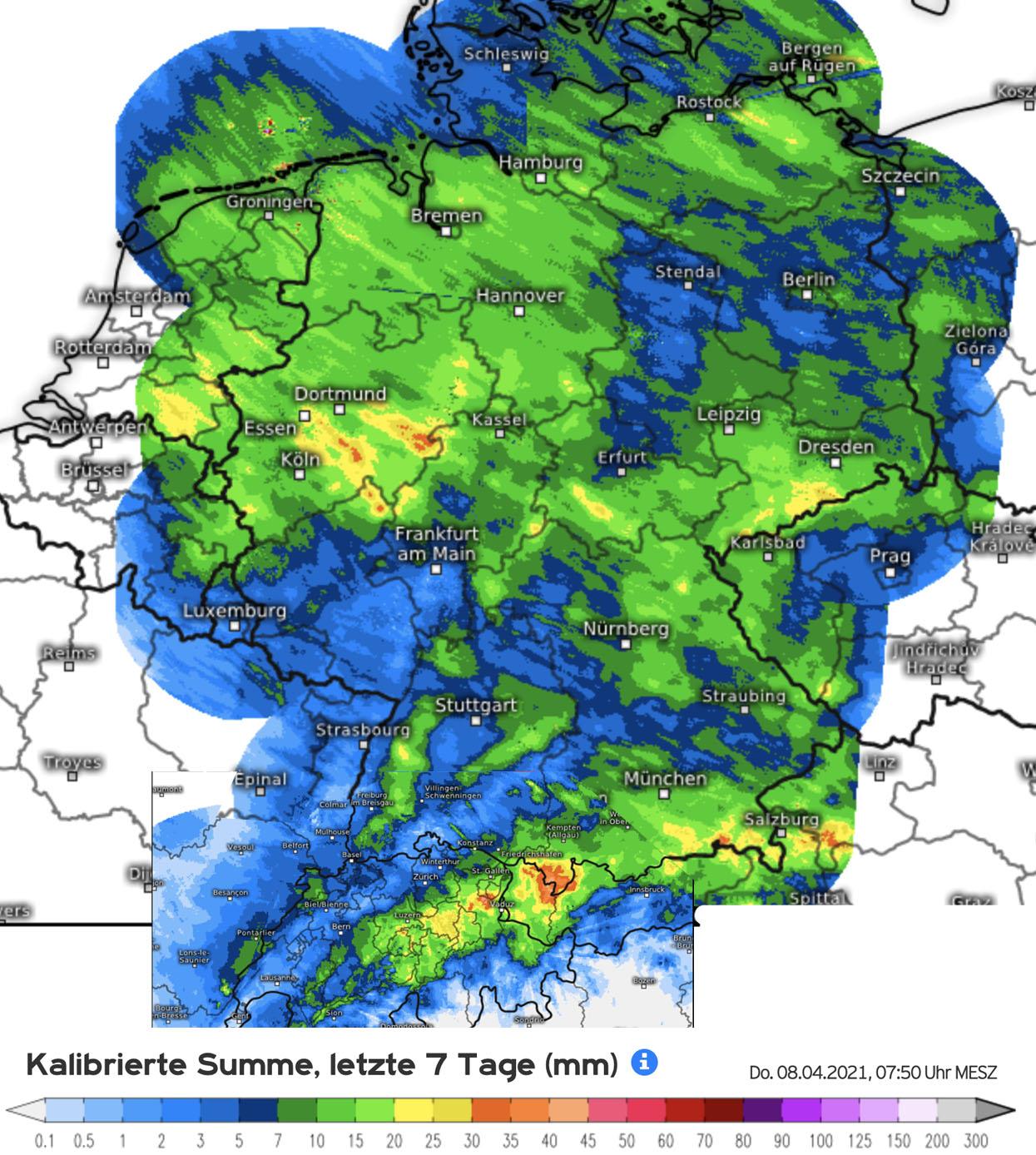 Neerslaghoeveelheden in de eerste week van april ten tijde van de noordelijke stroming (bron Kachelmannwetter.com)
