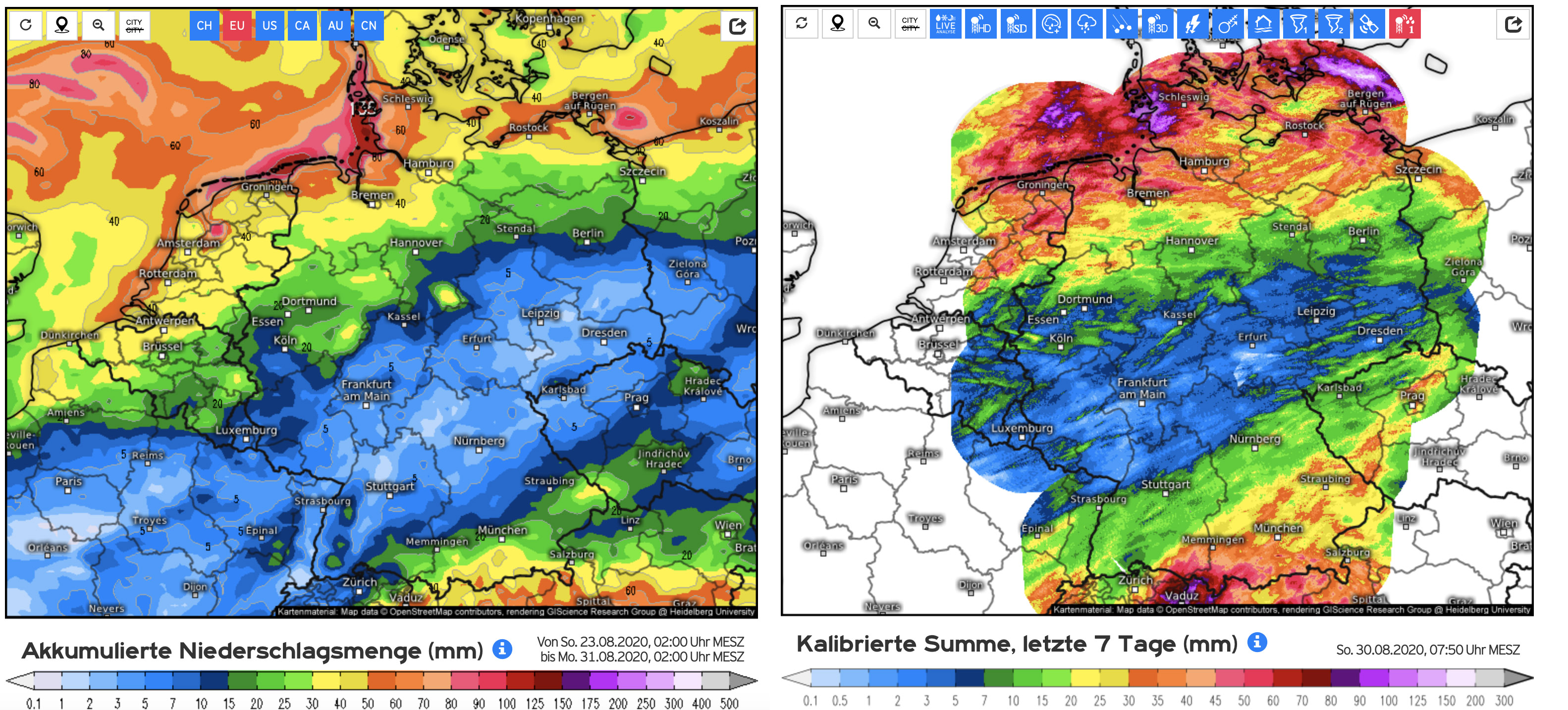 Vergelijking neerslagverwachting afgelopen week (links) met de waargenomen hoeveelheden (rechts).