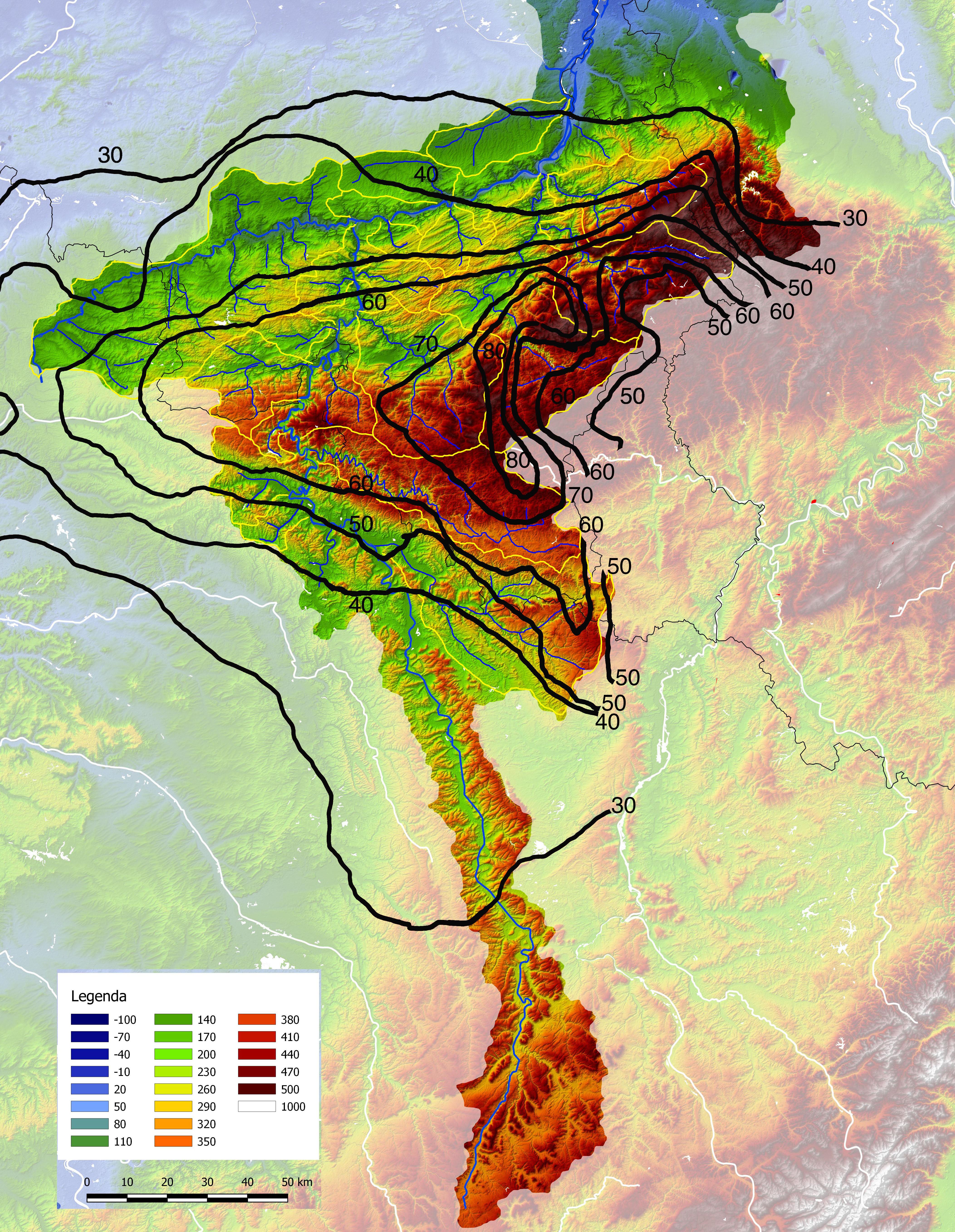 Neerslaghoeveelheden van 21 t/m 24 dec in stroomgebied Maas