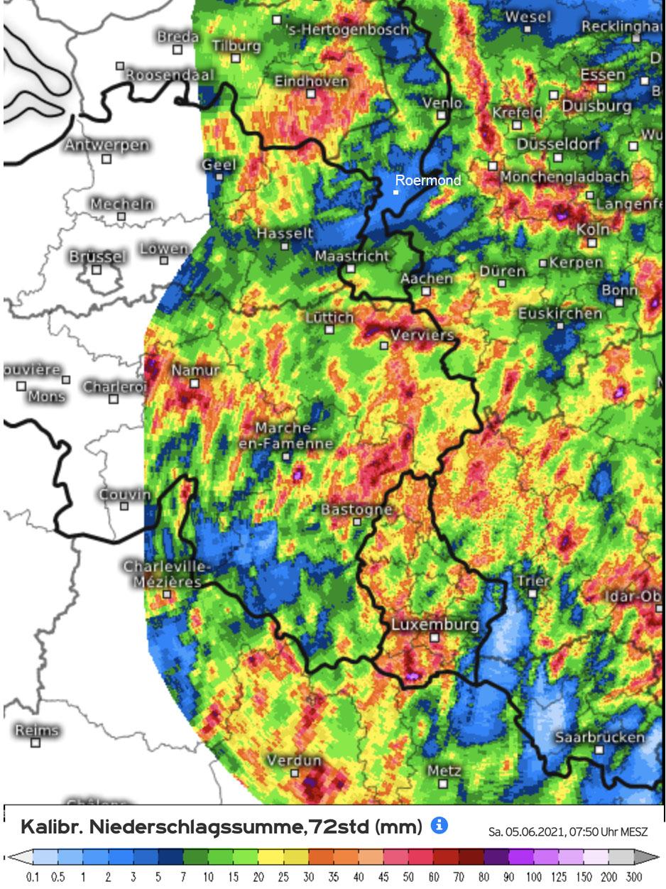 Regenhoeveelheden in de Ardennen op 3 en 4 juni