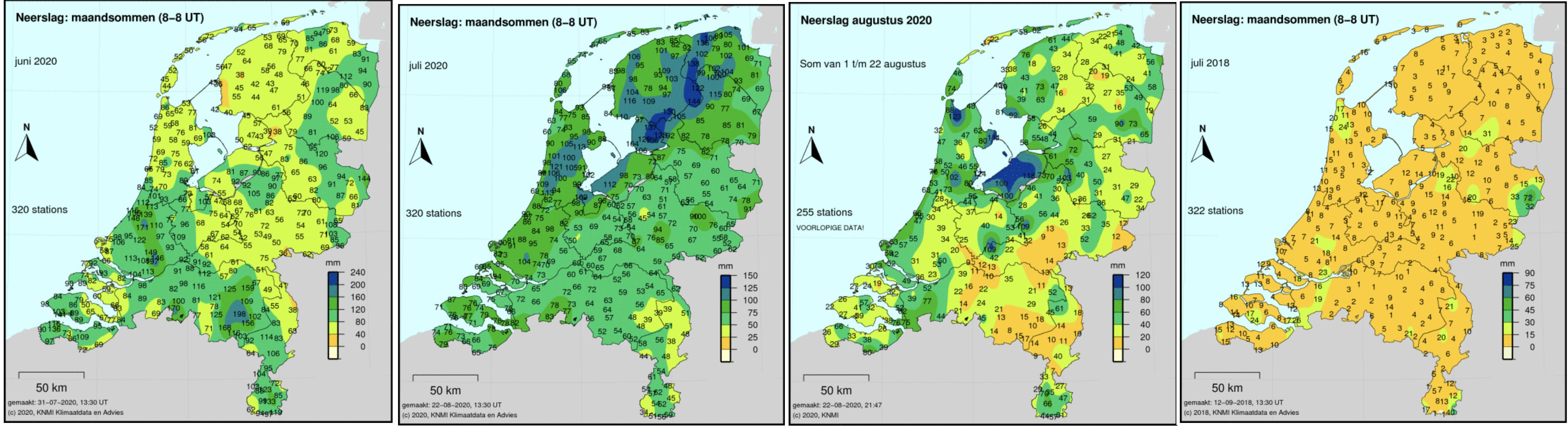 Neerslaghoeveelheden afgelopen zomermaanden. Ter vergelijking geheel rechts de kaart van juli 2018. (bron KNMI)