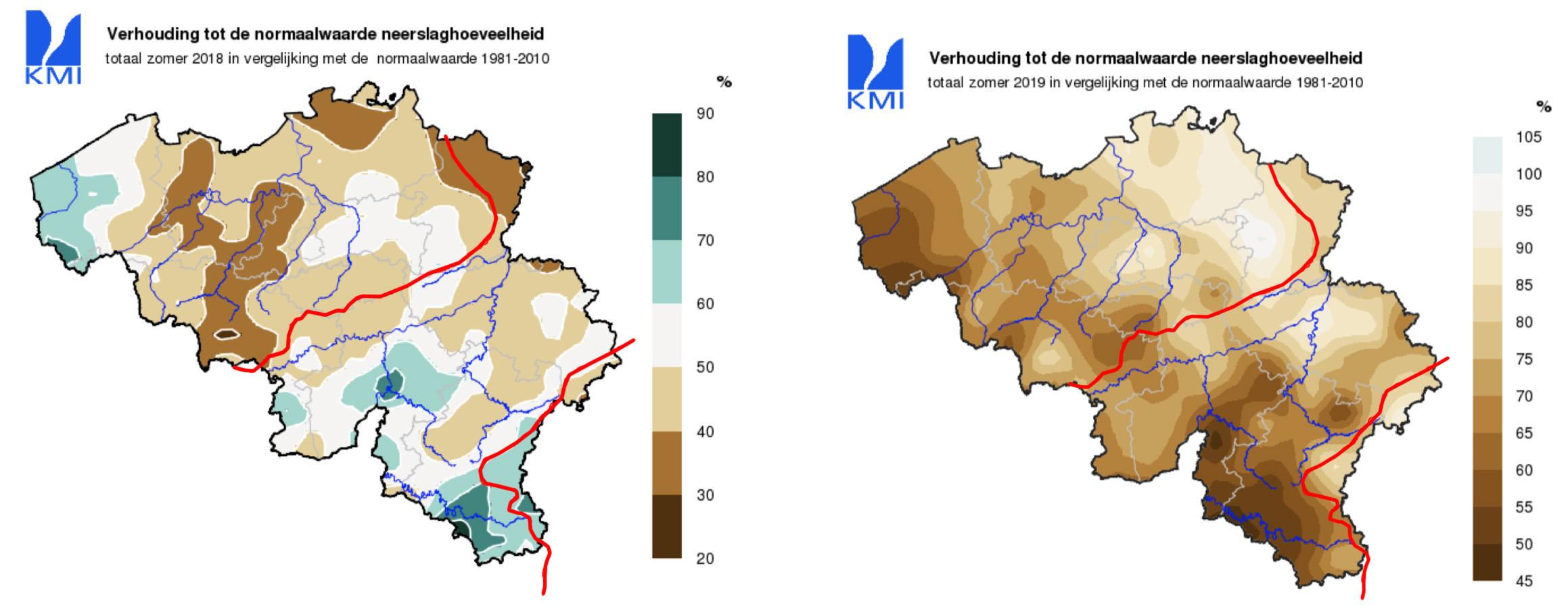Zomerneerslag België in 2018 (links) en 2019 (rechts) als percentage van het langjarig gemiddelde (de rode lijn is de grens van het stroomgebied van de Maas).