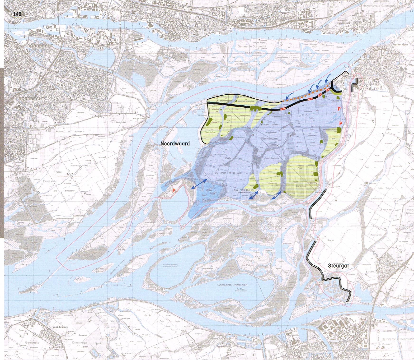 Doorstroomgebied Noordwaard. In het noorden stroomt het rivierwater via 4 overlaten het doorstroomgebied (blauw) in. Dit zijn poldertjes met heel lage dijken. De groene gebieden hebben hogere dijken en stromen pas mee bij nog veel hogere waterstanden.