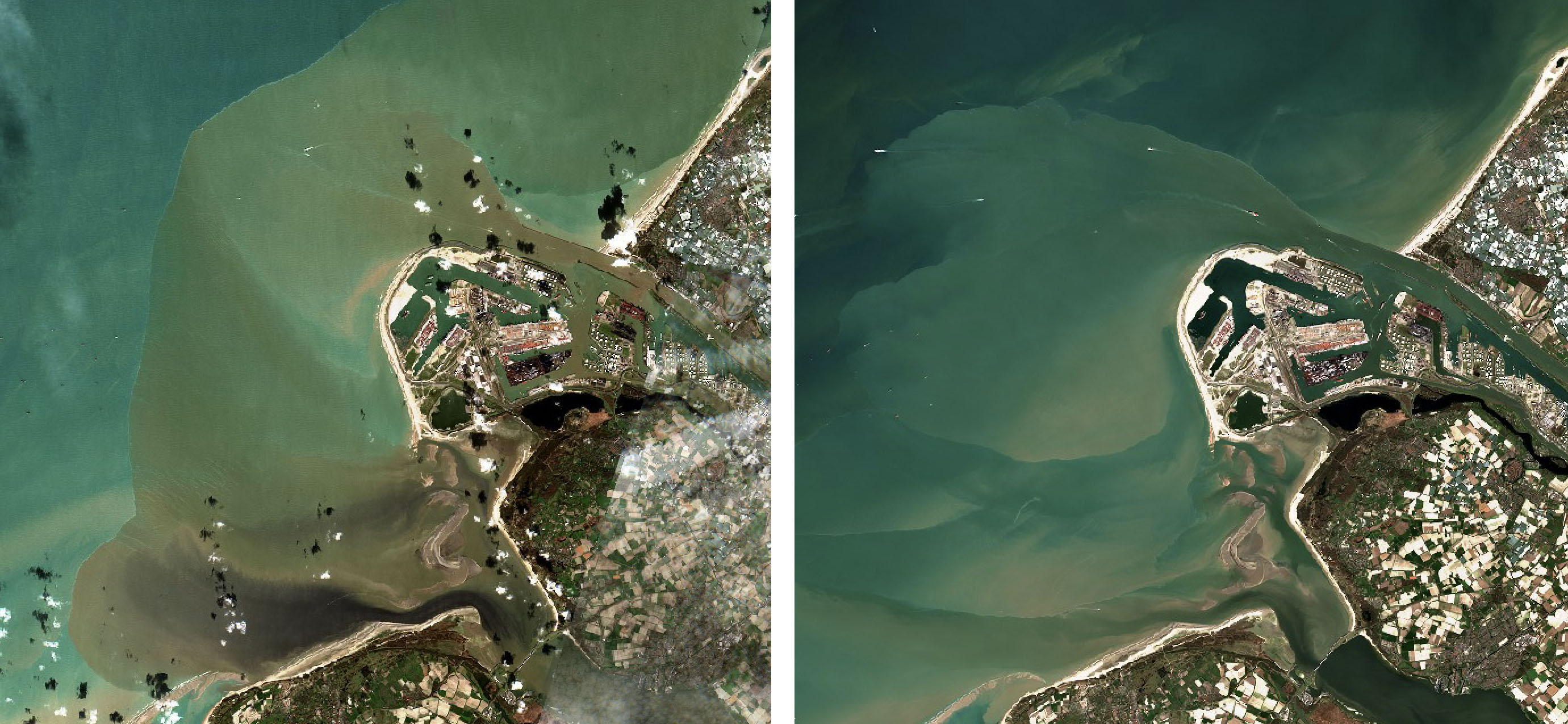 Naar zee uitstromend Rijn- en Maaswater op 14 maart (links) tijdens de hoogwaterperiode en 26 maart.