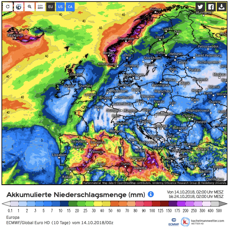 Neerslagverwachting voor de komende 10 dagen (bron Kachelmannwetter.com)