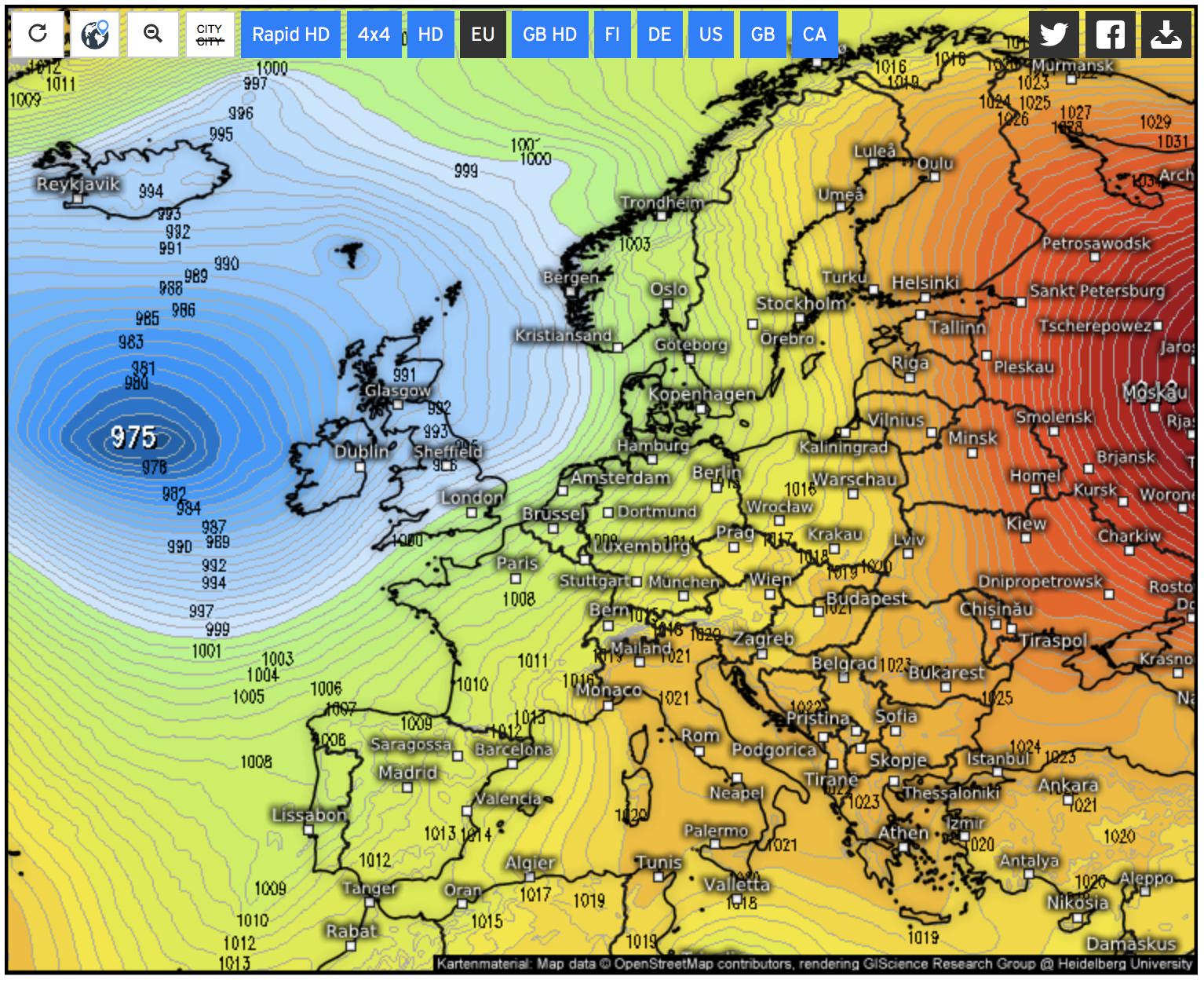 Luchtdrukverdeling Europa zondag 11 nov (bron: Kachelmannwetter.com)
