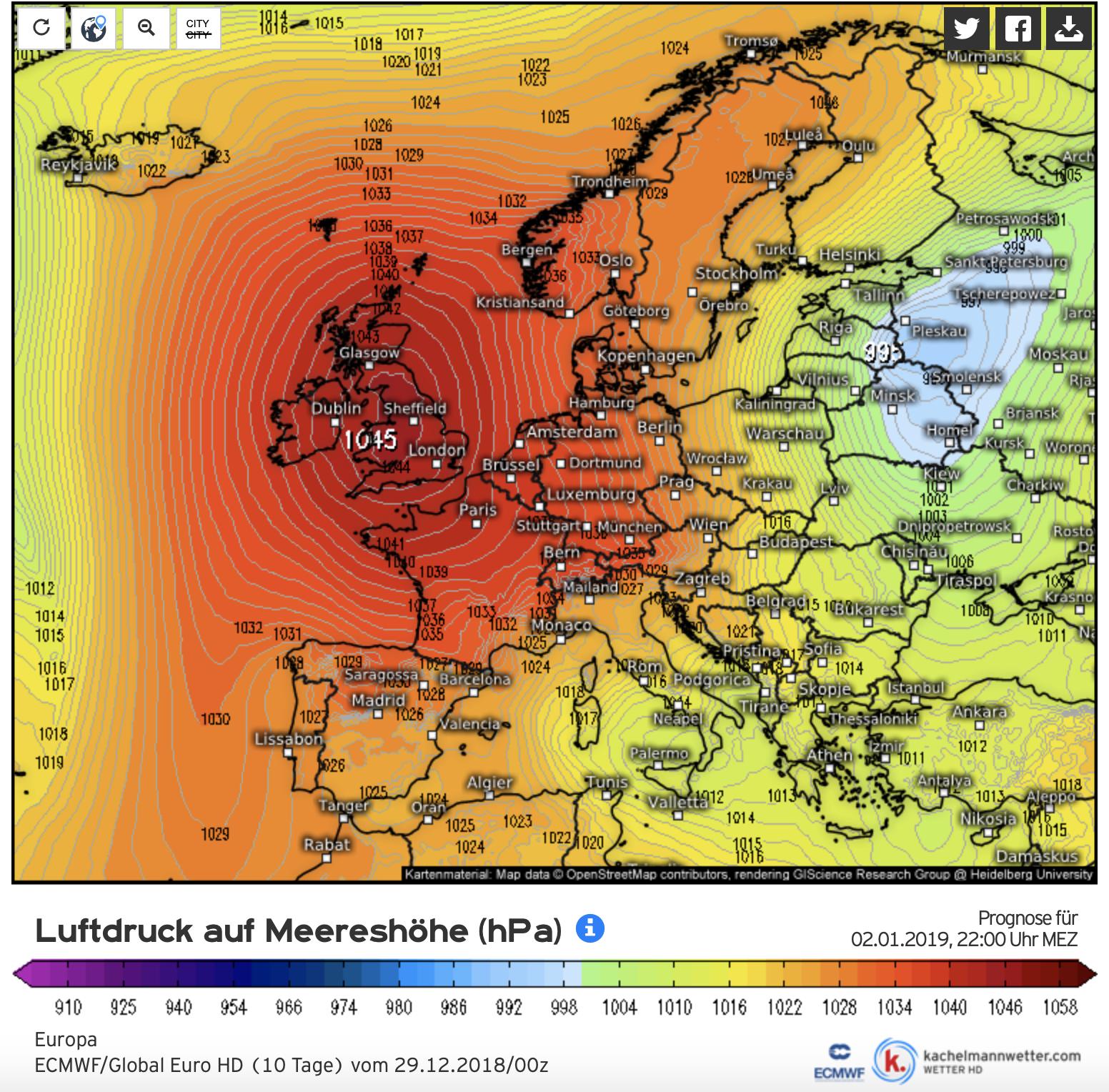 Hoge druk ten westen van ons houdt de deur naar de Atlantische Oceaan en regengebieden op slot (bron Kachelmannwetter.com)