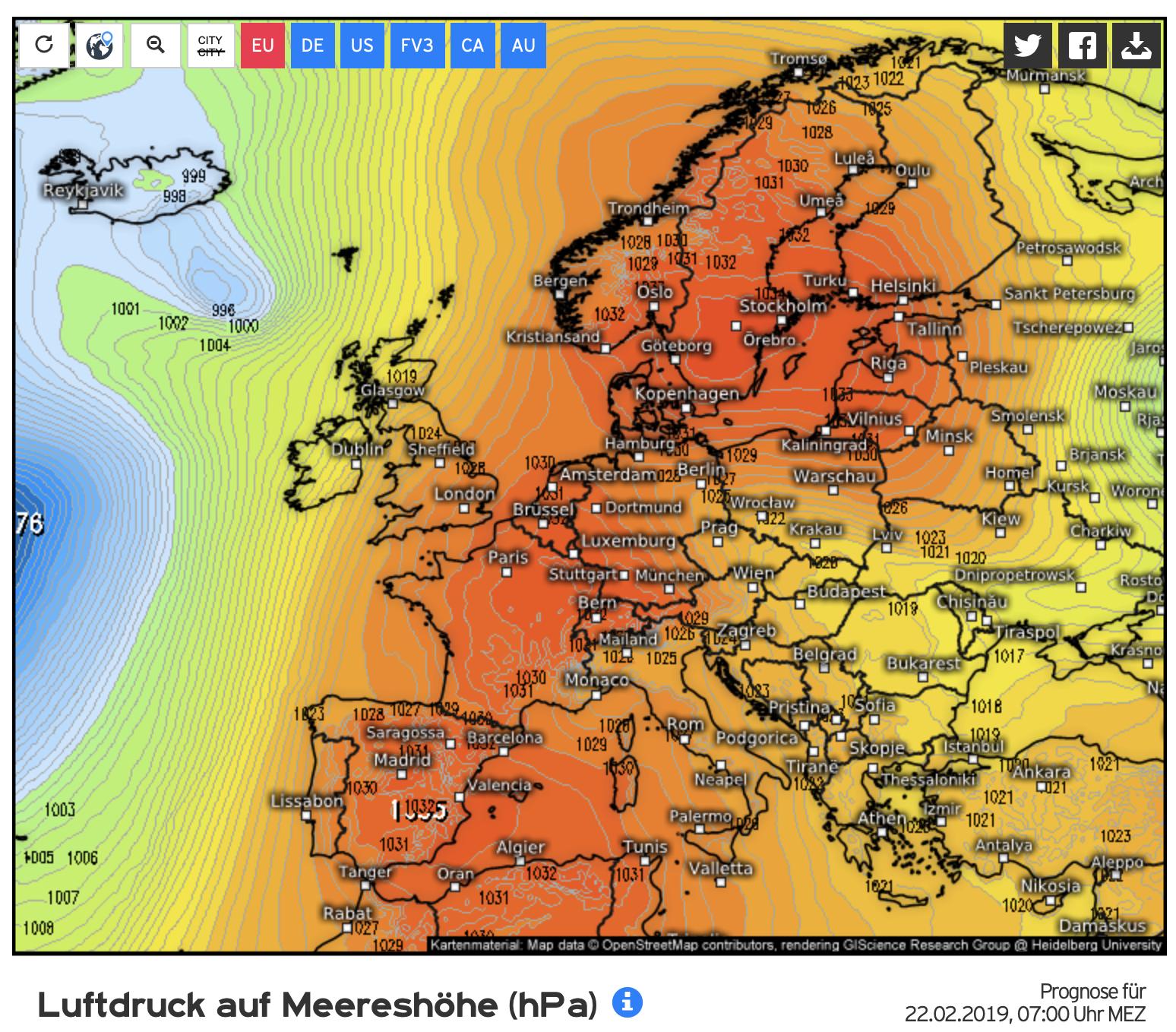 Hoge druk heerst boven Europa; neerslaggebieden komen er voorlopig niet doorheen (bron Kachelmannwetter.com)