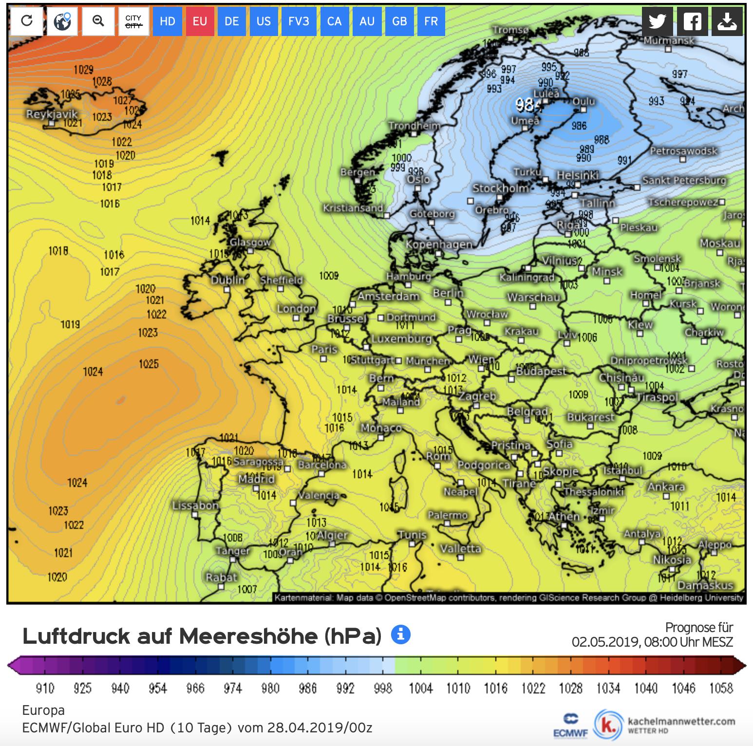 Het Europese weermodel verwacht voor de tweede helft van de week dat een groot lage drukgebied ontstaat boven Scandinavië. Dit is een vrij ongebruikelijk weerpatroon en misschien heeft dat dan ook nog wat verrassingen in petto voor het weer bij ons.