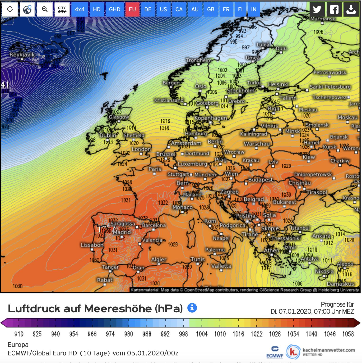 De huidige weerkaart laat goed het Eurohoog zien dat vastgenageld lijt boven midden en zuid Europa en regengebieden op grote afstand houdt. (bron: Kachelmannwetter.com)