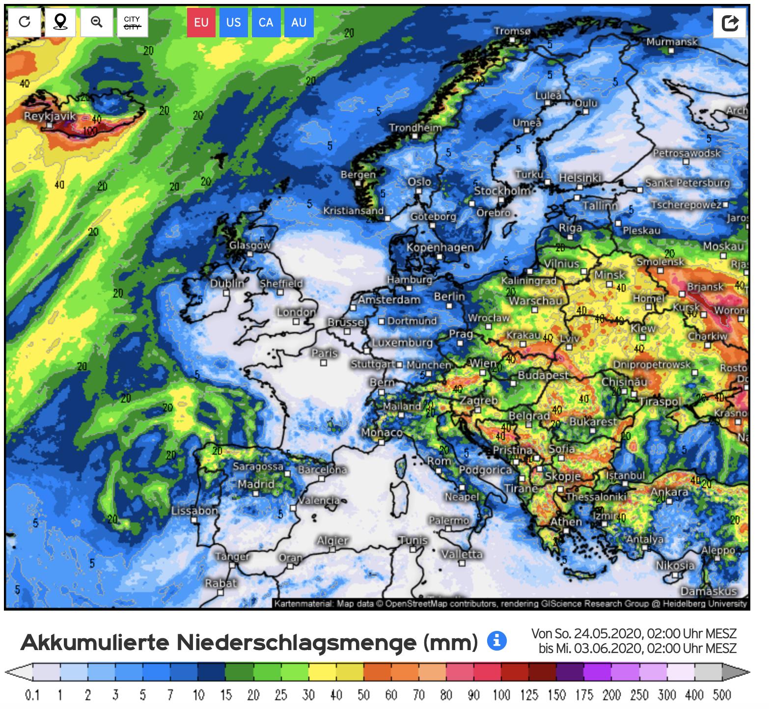 Neerslagverwachting voor Europa voor de komende 10 dagen (bron Kachelmannwetter)