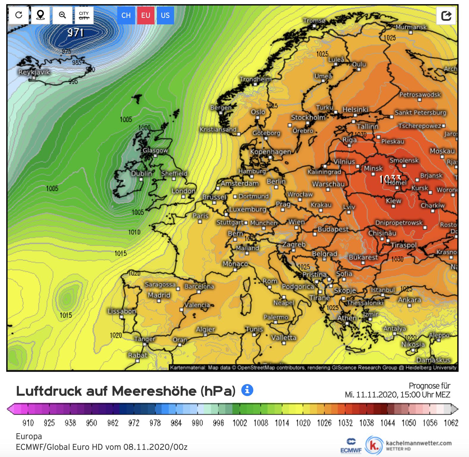 Bijna heel Europa ligt onder de invloed van een groot hogedrukgebied dat regengebieden op afstand houdt. De weerkaart is van het Europese weermodel en het gaat om de verwachting voor midden volgende week (bron Kachelmannwetter.com).