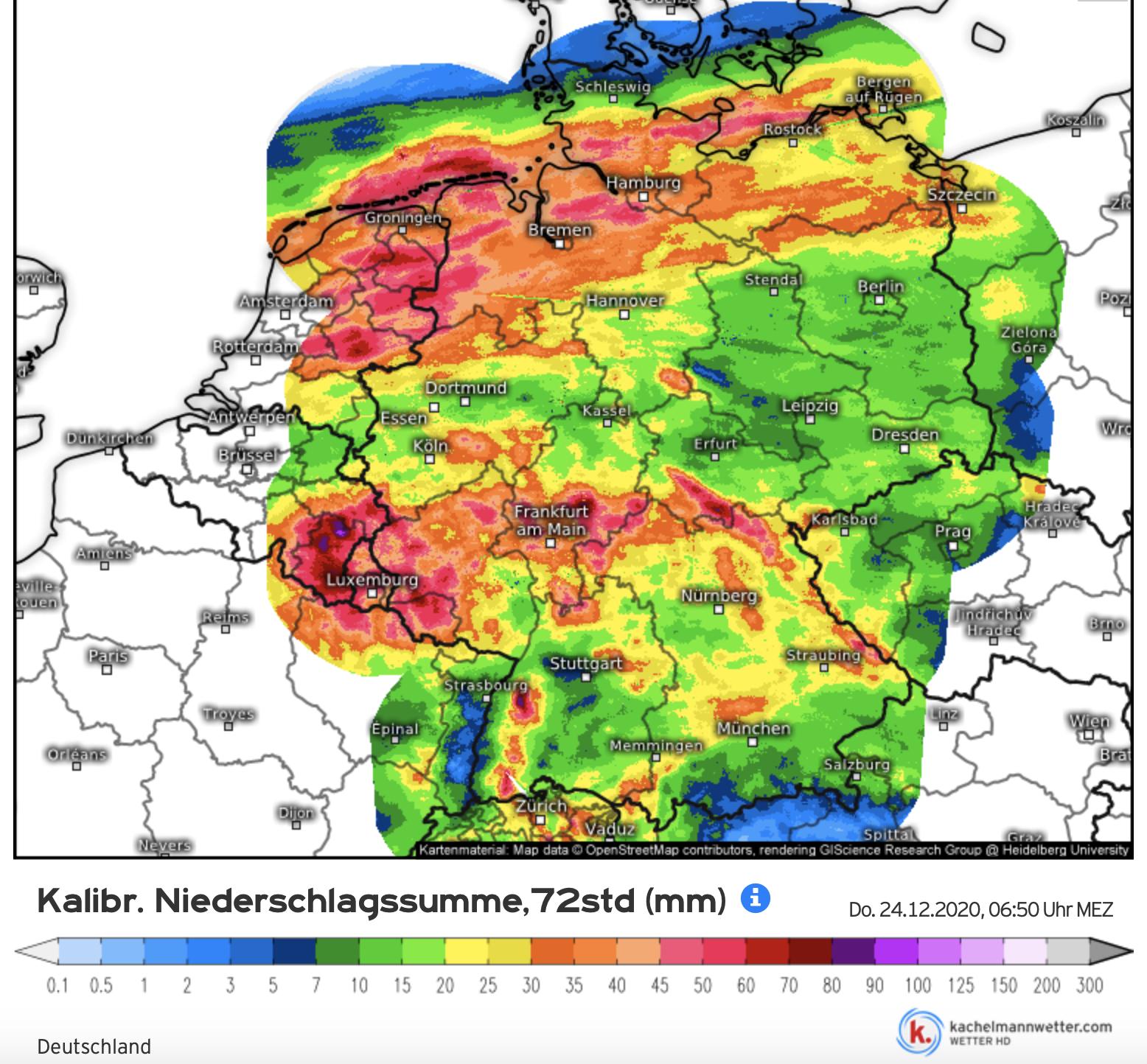 Neerslaghoeveelheden afgelopen 3 dagen in stroomgebied Rijn en Maas. Vooral in de Ardennen viel erg veel regen, wat nu hoogwater in de Maas veroortzaakt (bron Kachelmannwetter.com)