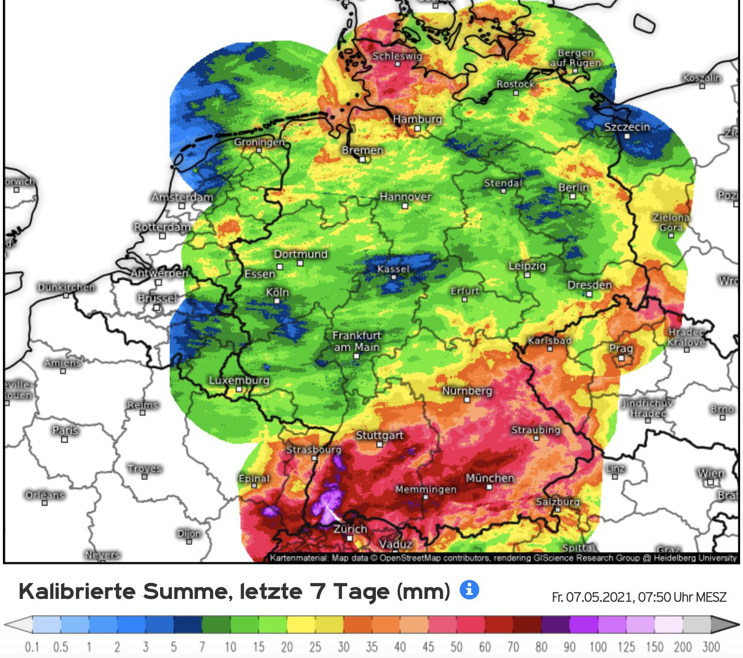 Neerslaghoeveelheden in de eerste week van mei (bron Kachelmannwetter.com)