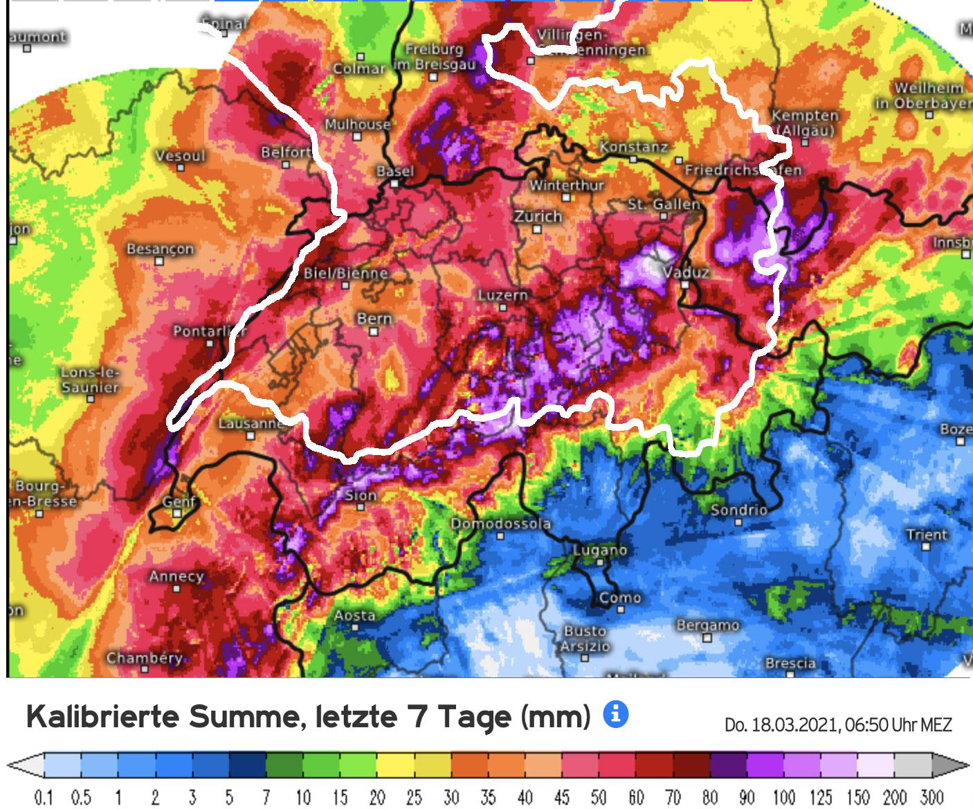 Neerslaghoeveelheden Zwitserland van 11 tm 18 maart; 1 mm staat ongeveer gelijk aan 1 cm sneeuw. (bron: Kachelmannwetter.com)