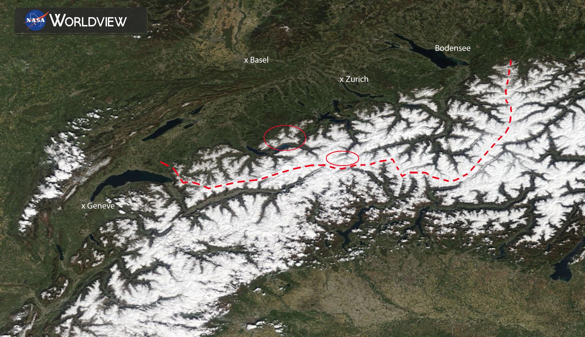 Sneeuwbedekking Alpen op 20 april 2019