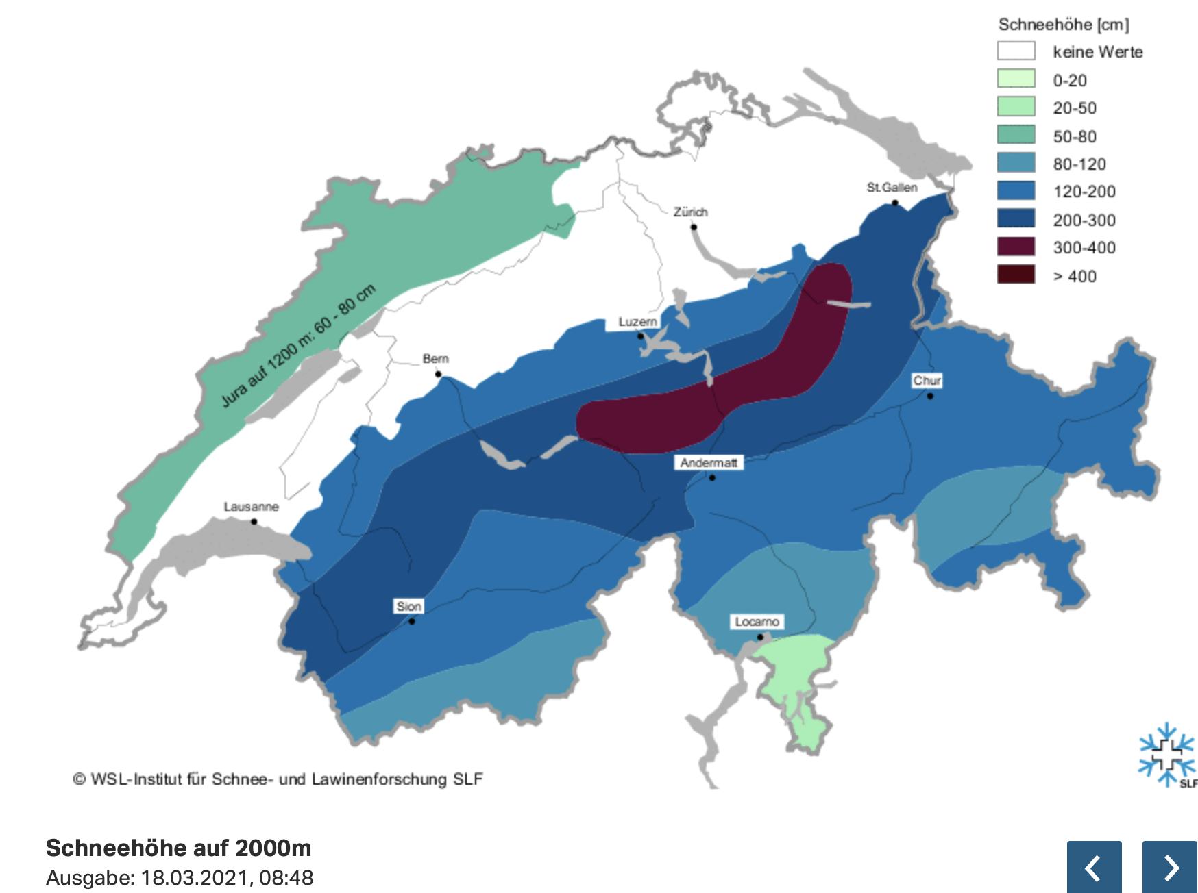 Sneeuwdikte Alpen t/m afgelopen week. (bron: www.slf.ch)