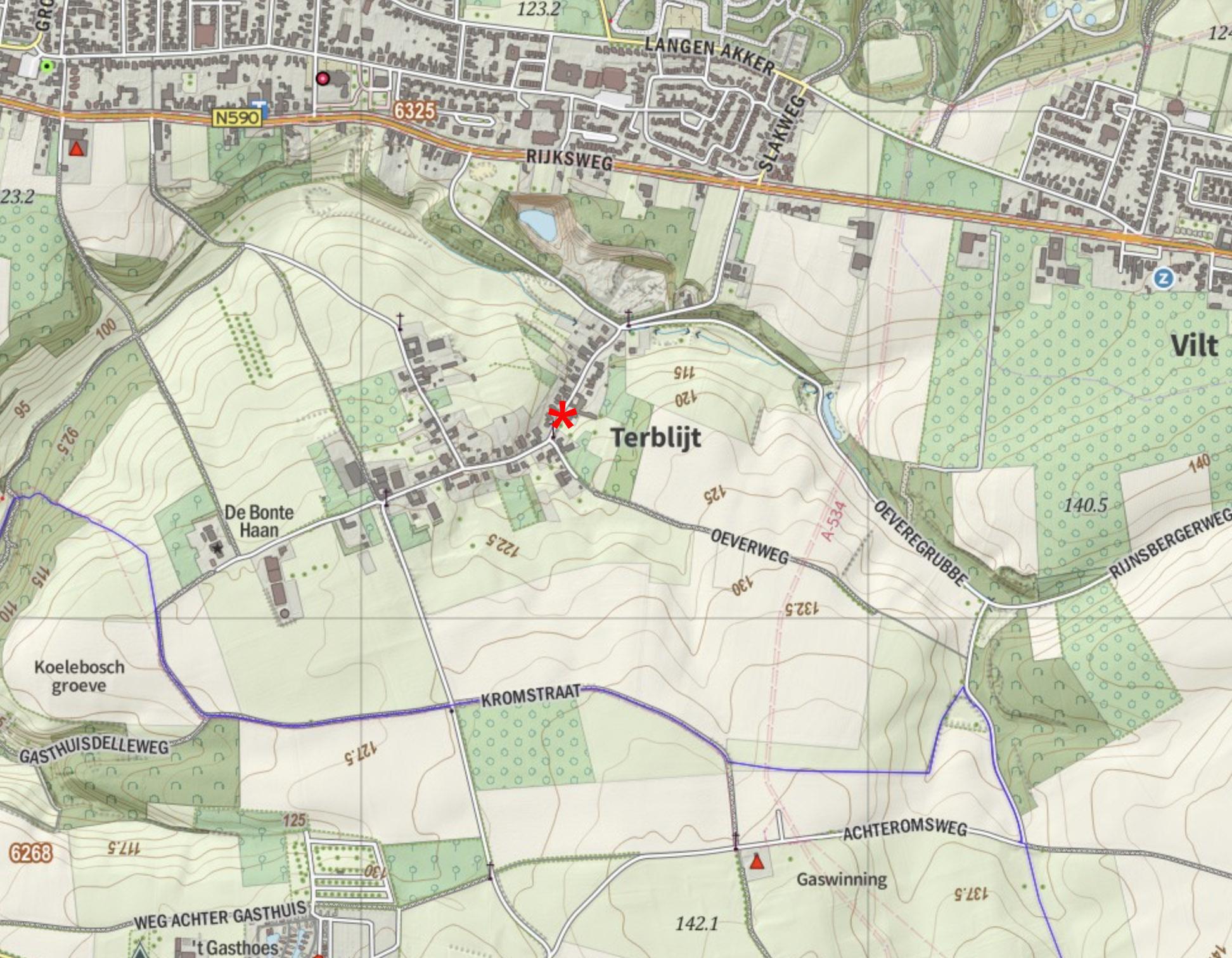 Topografische kaart omgeving Terblijt