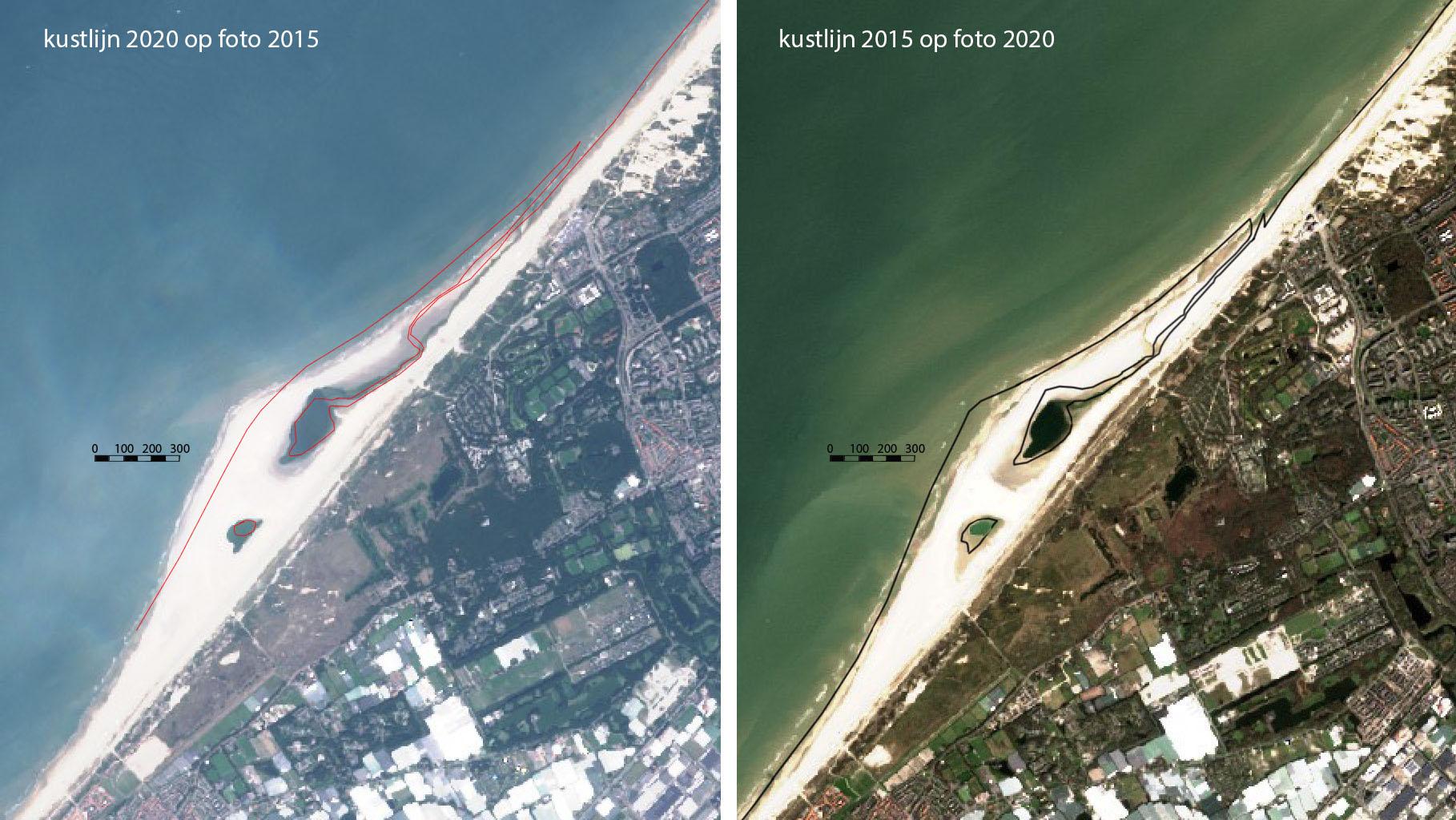 Satellietfoto van de Zandmotor voor de kust van Zuid Holland. Links een foto uit 2015 met daarop afgebeeld de kustlijn van 2020 en rechts de foto van 2020 met daarop de kustlijn van 2015.