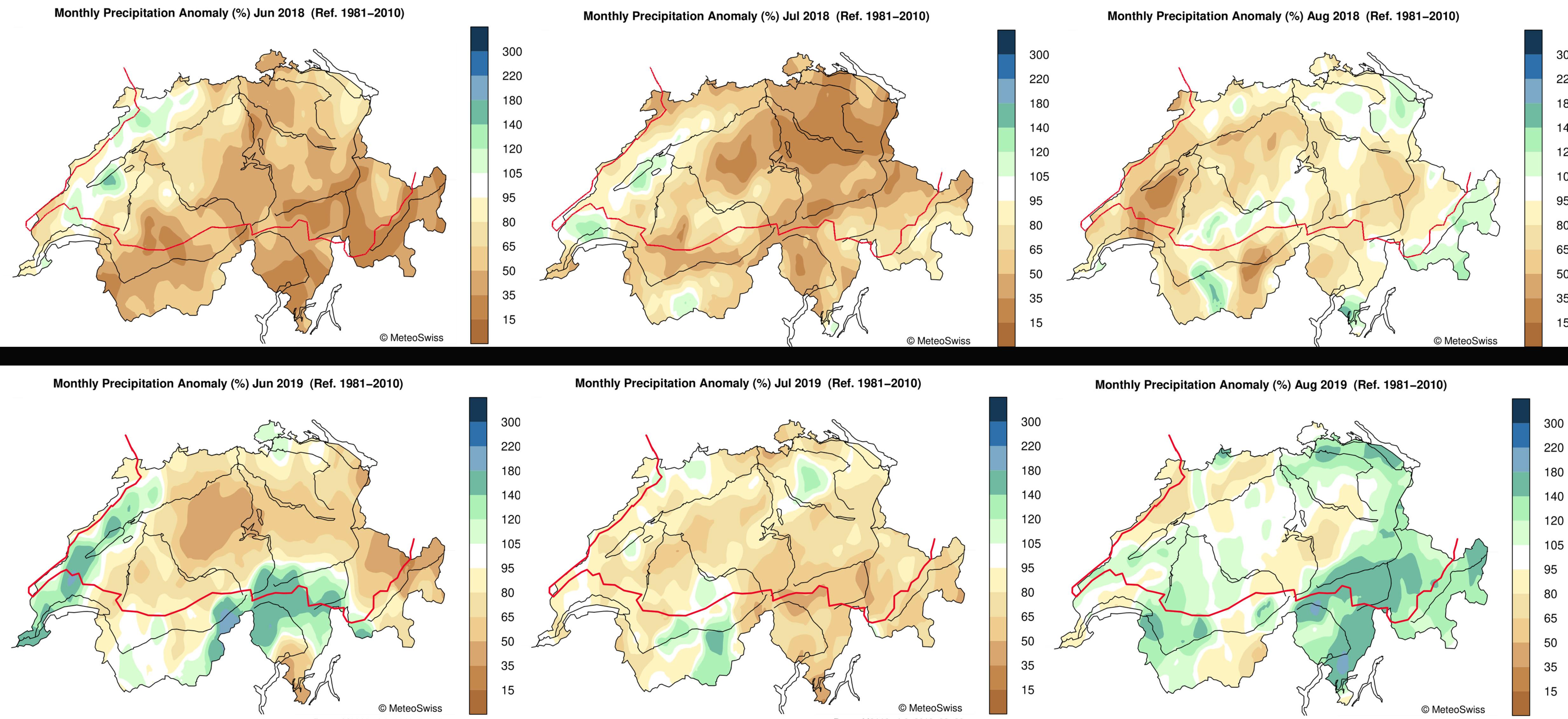 Zomerneerslag Zwitserland in 2018 (boven) en 2019 (onder) in percentage van het langjarig gemiddelde (de rode lijn is de grens van het stroomgebied van de Rijn).