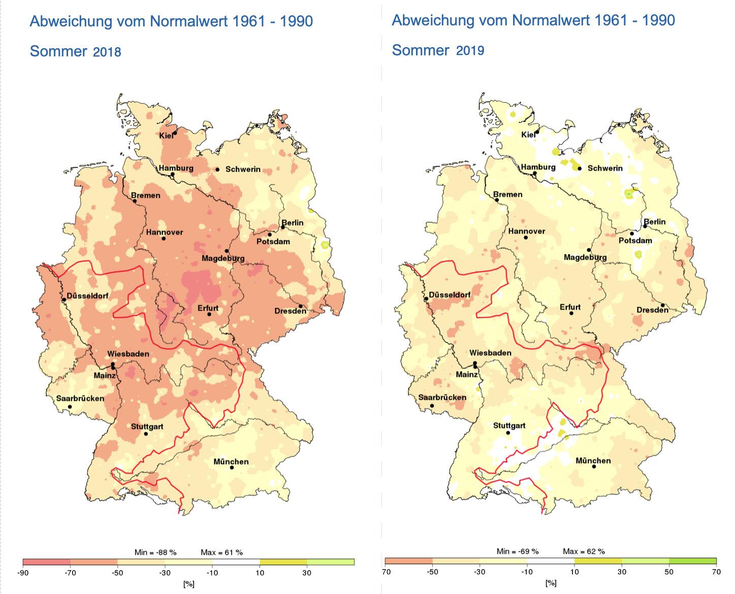 Zomerneerslag Duitsland in 2018 (links) en 2019 (rechts) in percentage waarin het afwijkt van het langjarig gemiddelde (de rode lijn is de grens van het stroomgebied van de Rijn).