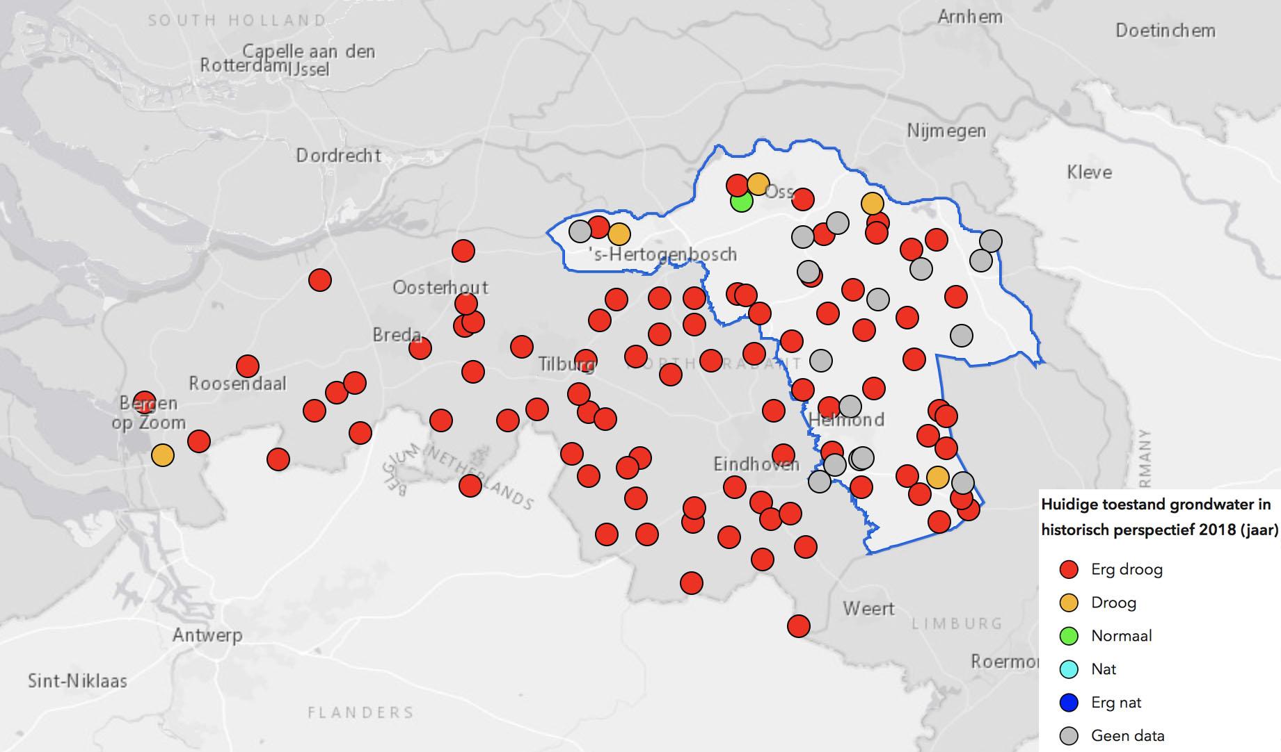 Huidige situatie grondwater Brabant (bron: waterschap Aa en Maas)