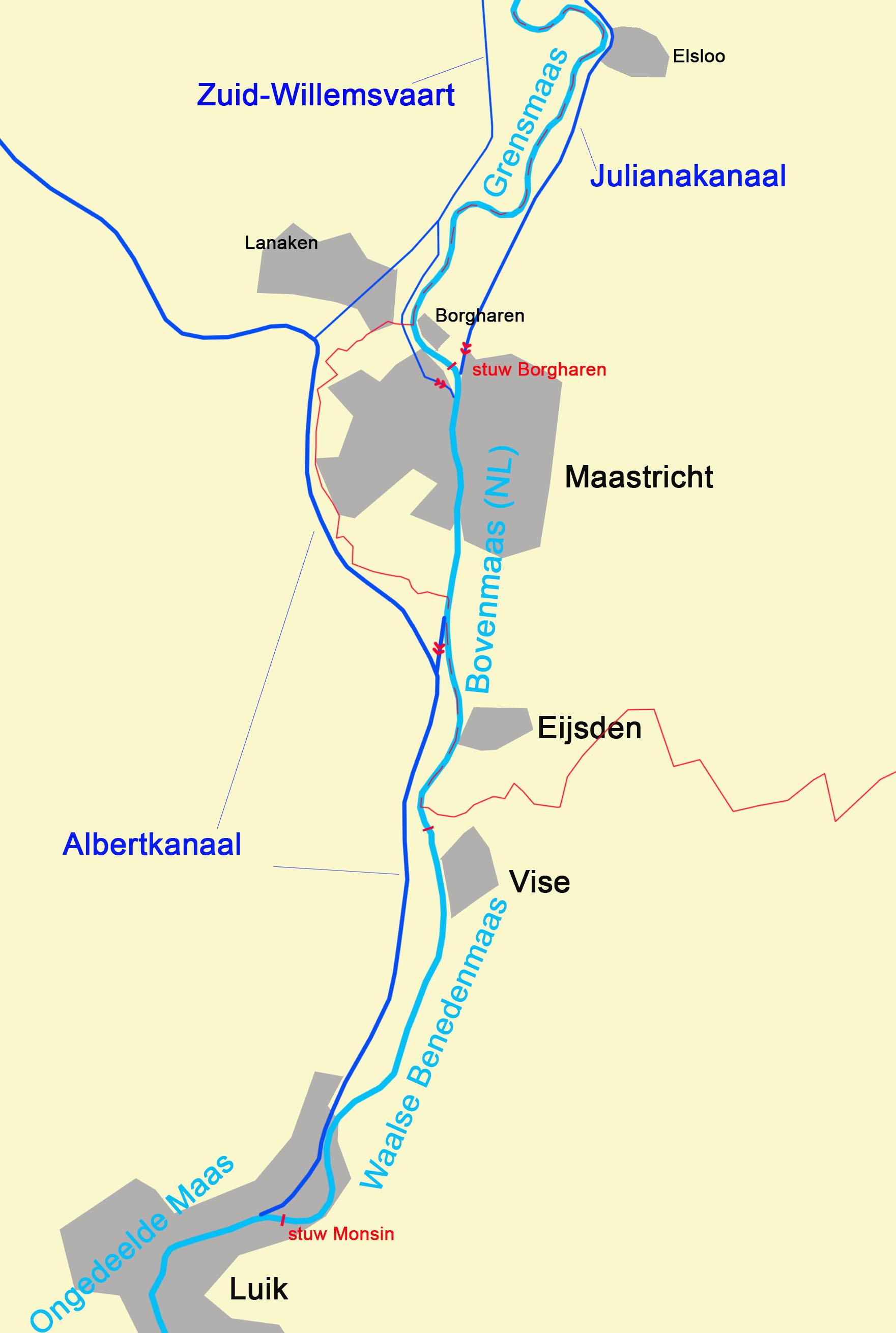 Kaart van de Maas tussen Luik en Maastricht met daarin aangegeven de ligging van de kanalen die een deel van het Maaswater afvoeren.