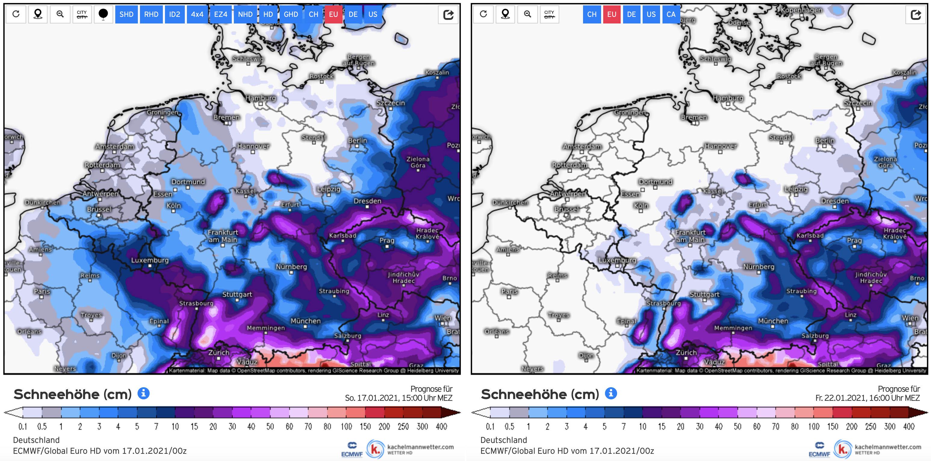 Ontwikkelingen sneeuwdek midden Europa van 17 t/m 22 januari (bron Kachetlmannwetter.com).