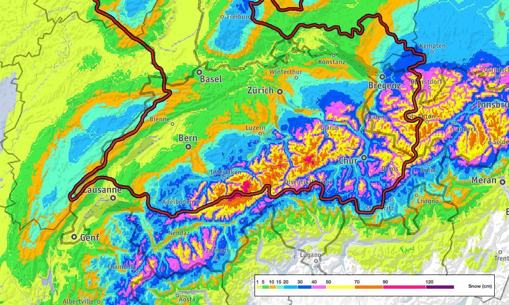 Verwachte sneeuwval in cm's in de komende 5 dagen (bron Bergfex.com)