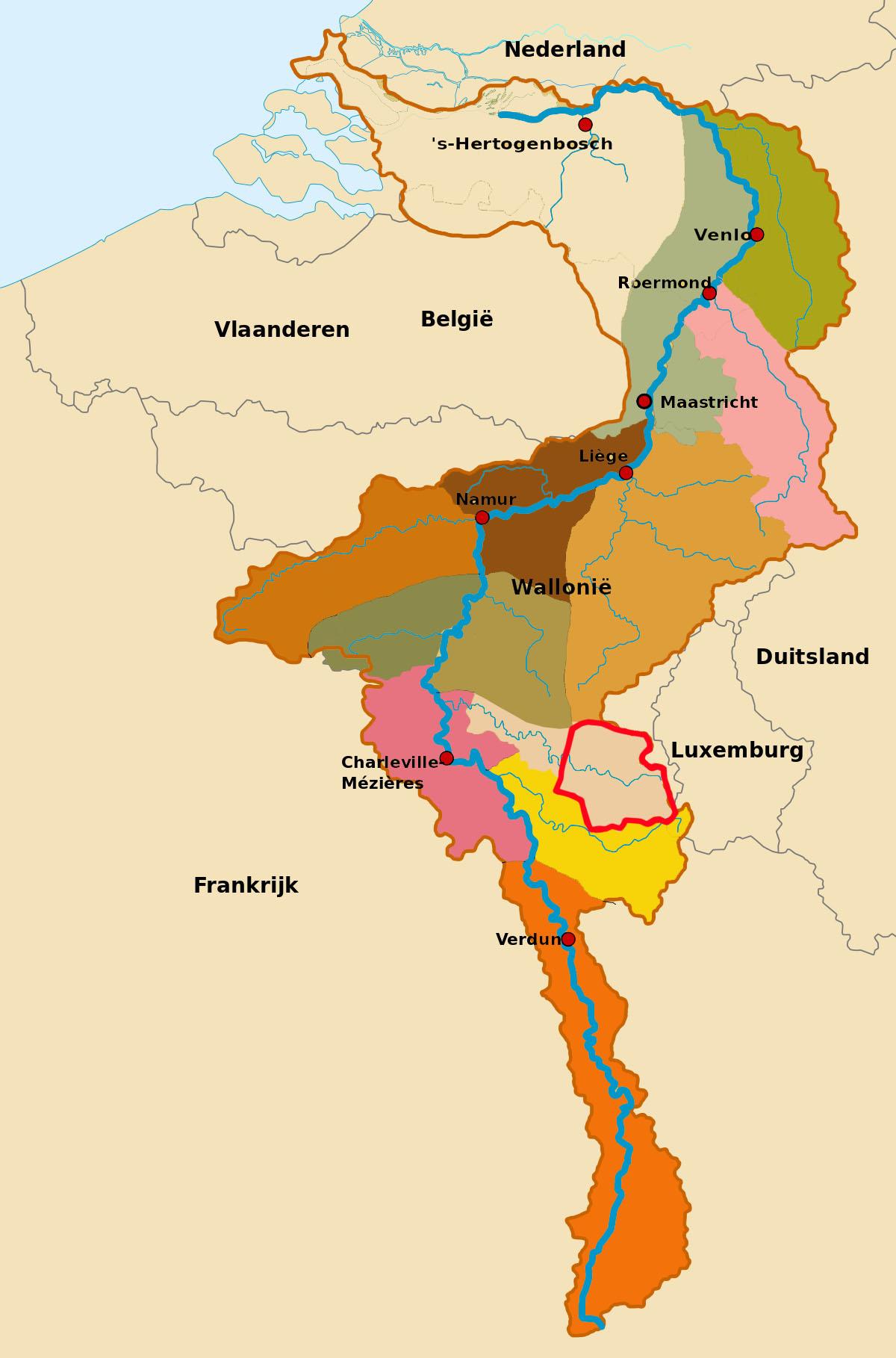 Stroomgebied van de Maas met daarin het onderzochte deel van het stroomgebied  van de Semois (rood omlijnd)