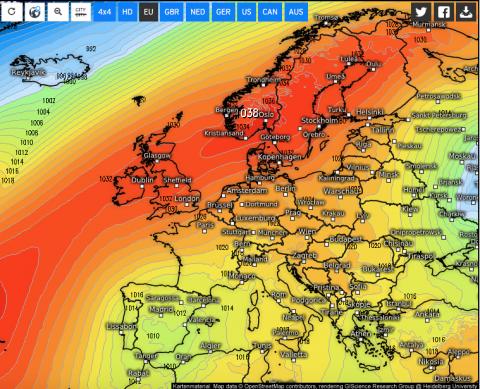 Een zone van hoge druk houdt neerslag vanaf de Atlantische Oceaan tegen