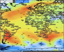 luchtdrukverdeling op de Atlantische Oceaan